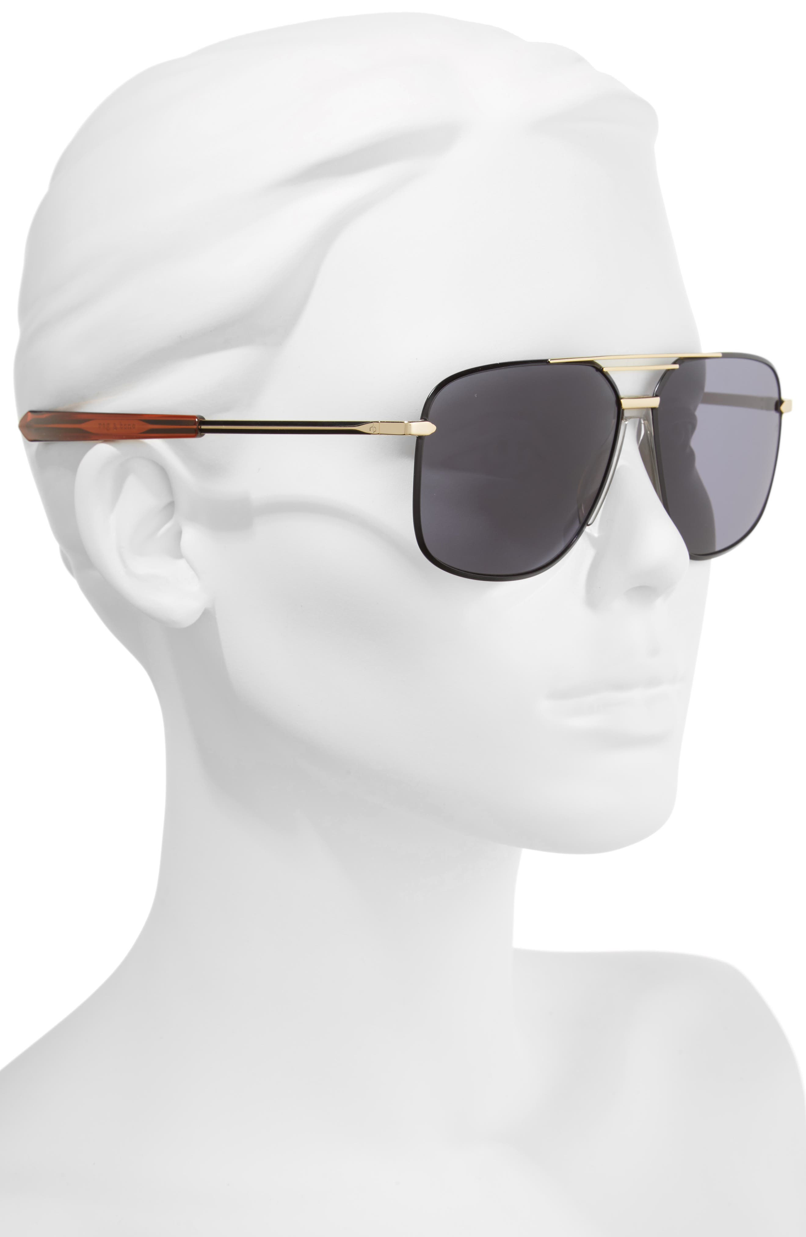 RAG & BONE, Caravan 62mm Oversize Aviator Sunglasses, Alternate thumbnail 2, color, BLACK/ GOLD