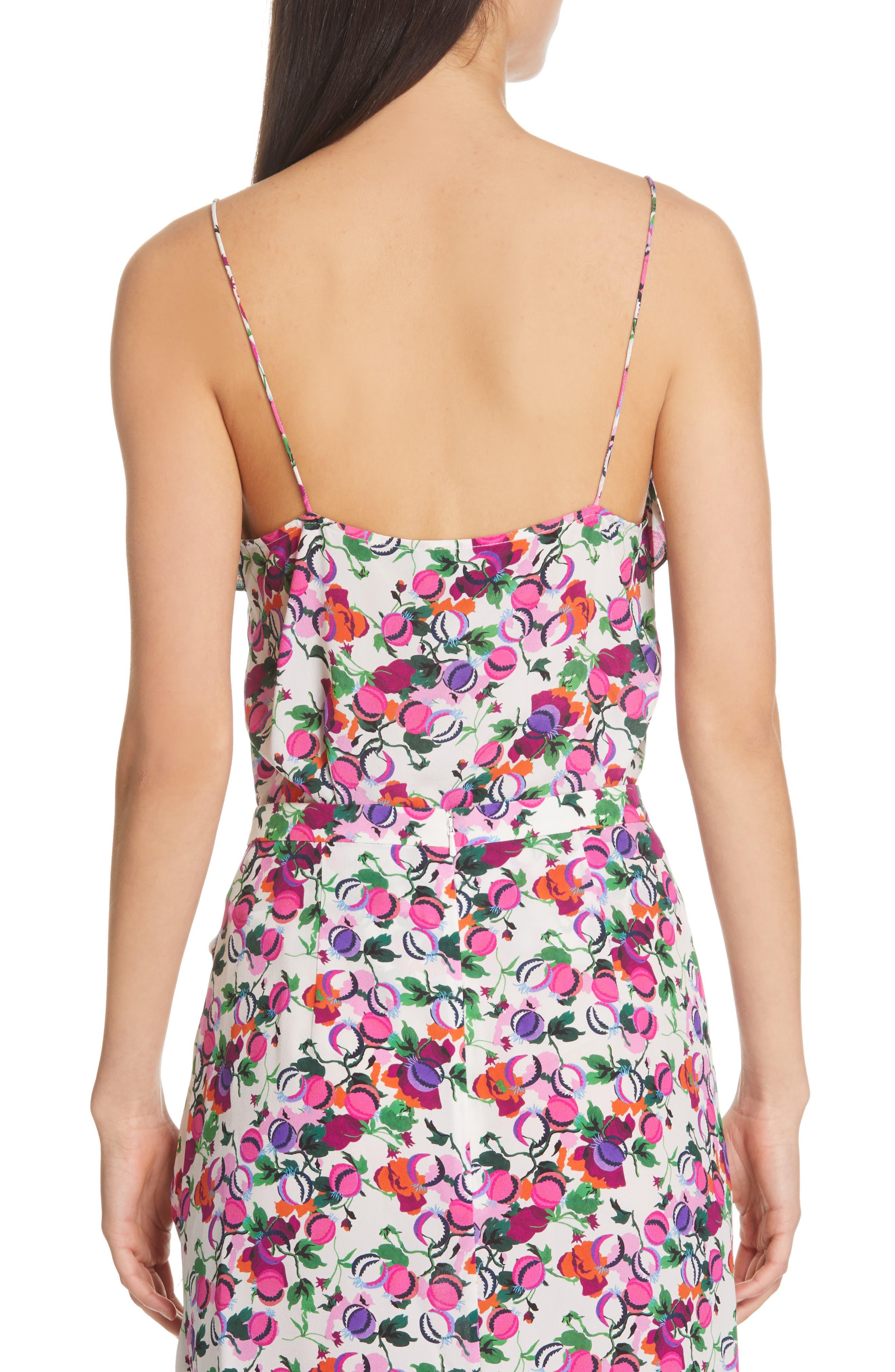 SALONI, Ani Floral Print Silk Camisole, Alternate thumbnail 2, color, ROSE BOUNTY