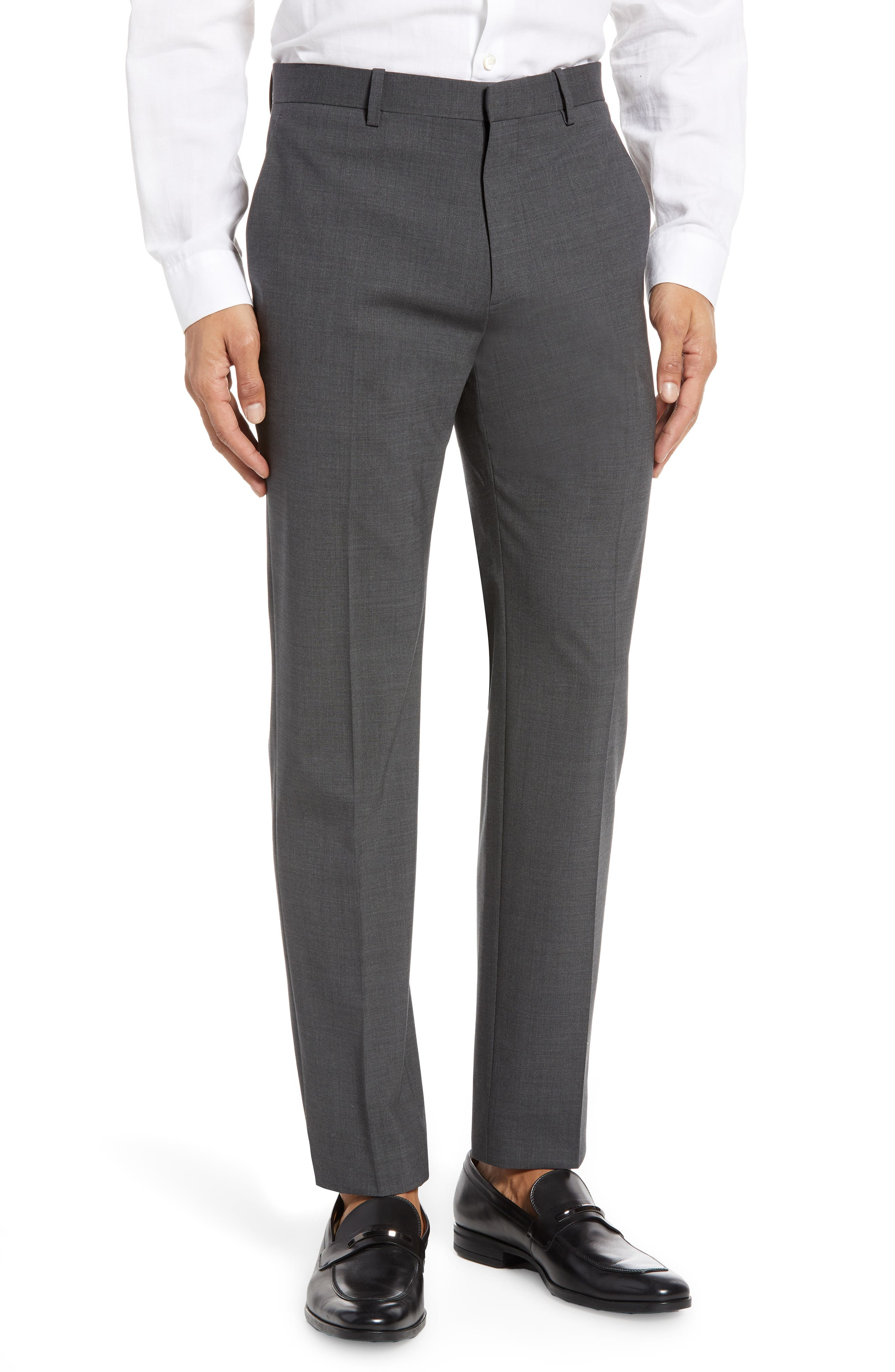 THEORY, Mayer New Tailor 2 Wool Trousers, Main thumbnail 1, color, CHARCOAL
