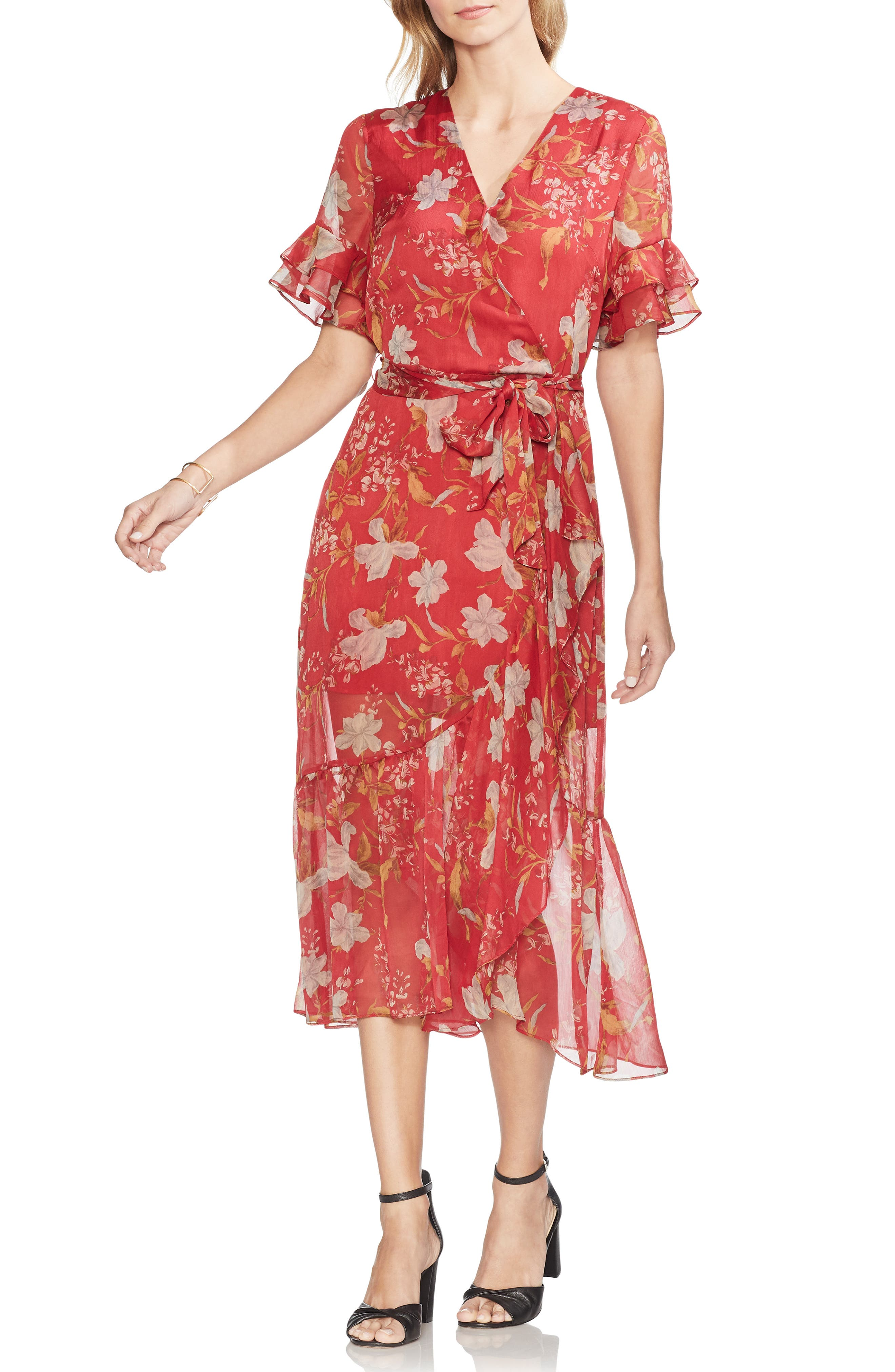 1930s Dresses | 30s Art Deco Dress Womens Vince Camuto Wildflower Tiered Ruffle Chiffon Dress Size 16 - Red $159.00 AT vintagedancer.com