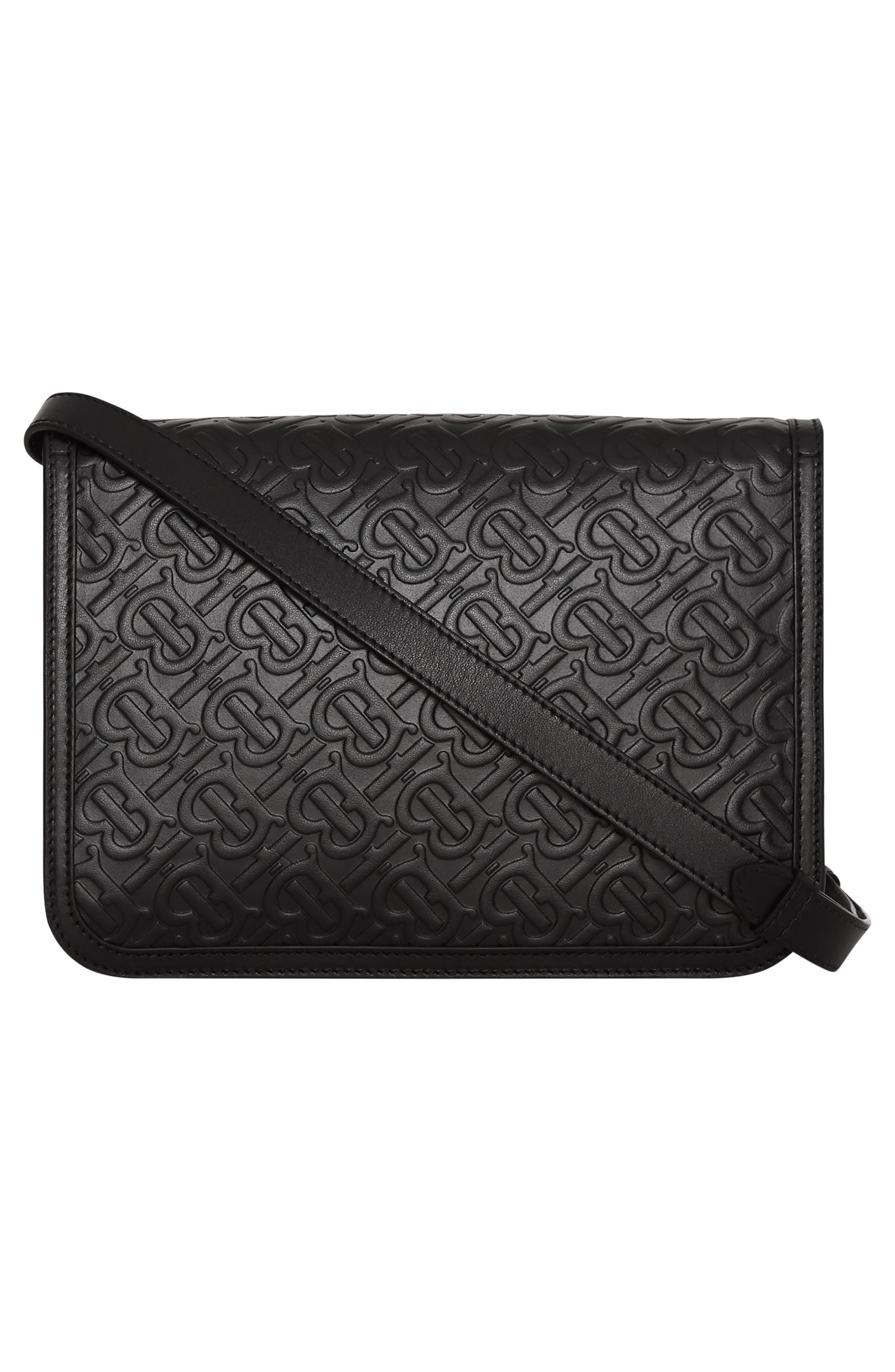 BURBERRY, Medium TB Monogram Leather Bag, Alternate thumbnail 4, color, BLACK