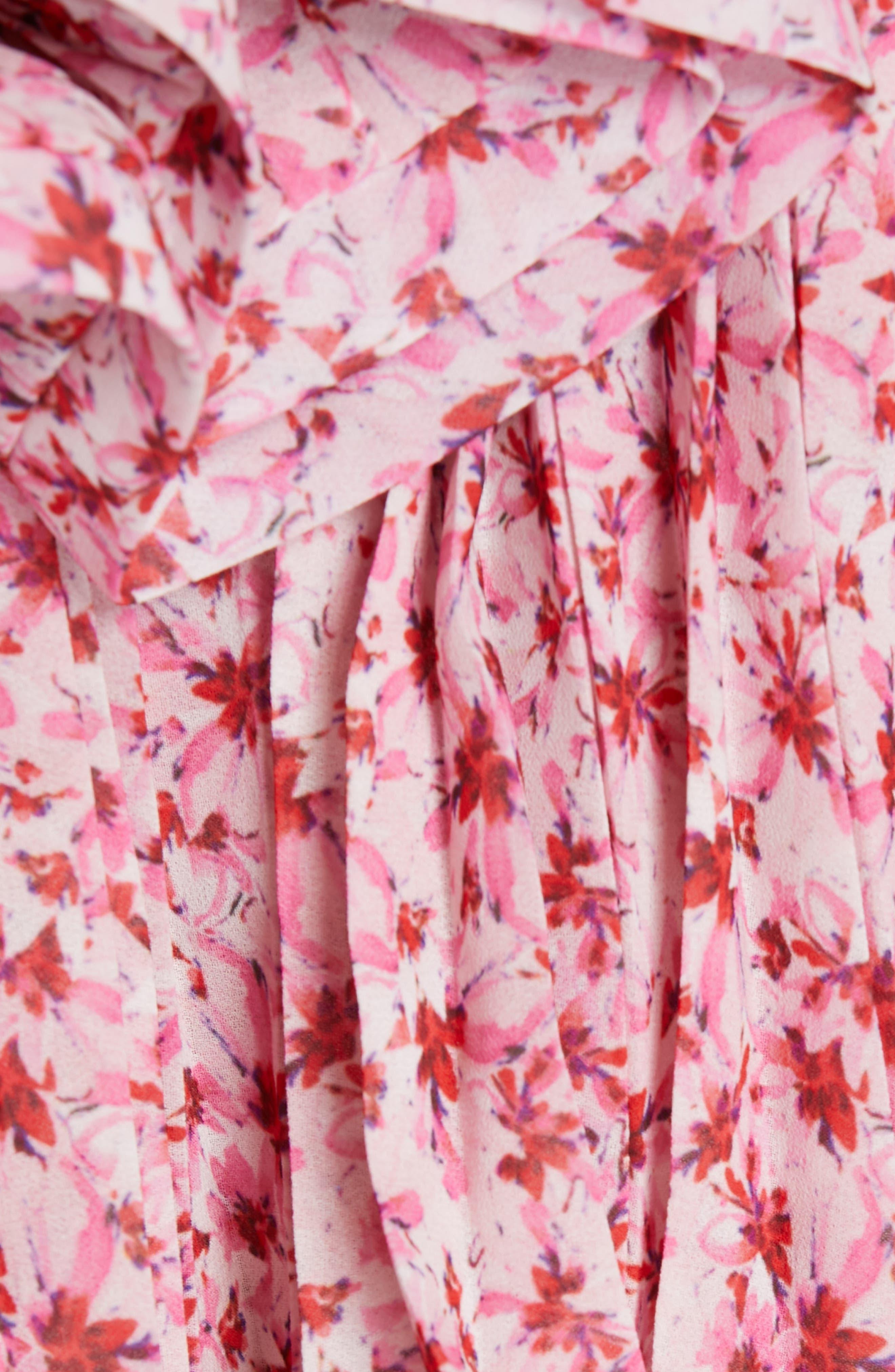 AMUR, Portia Floral Print One-Shoulder Top, Alternate thumbnail 5, color, PINK