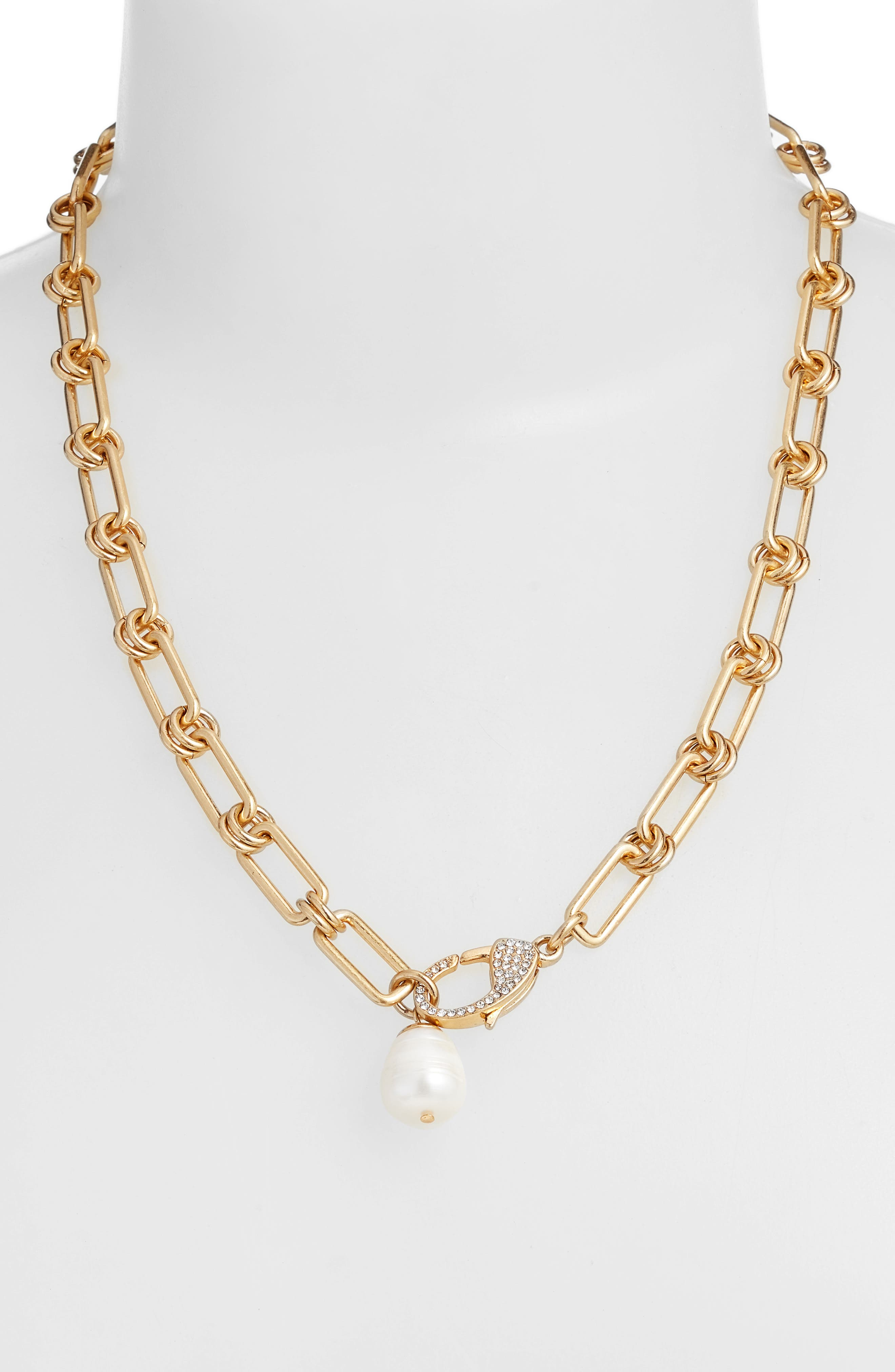 SOLE SOCIETY, Pavé Clasp Freshwater Pearl Pendant Necklace, Alternate thumbnail 2, color, WORN GOLD/CRYS/IVORY PEARL