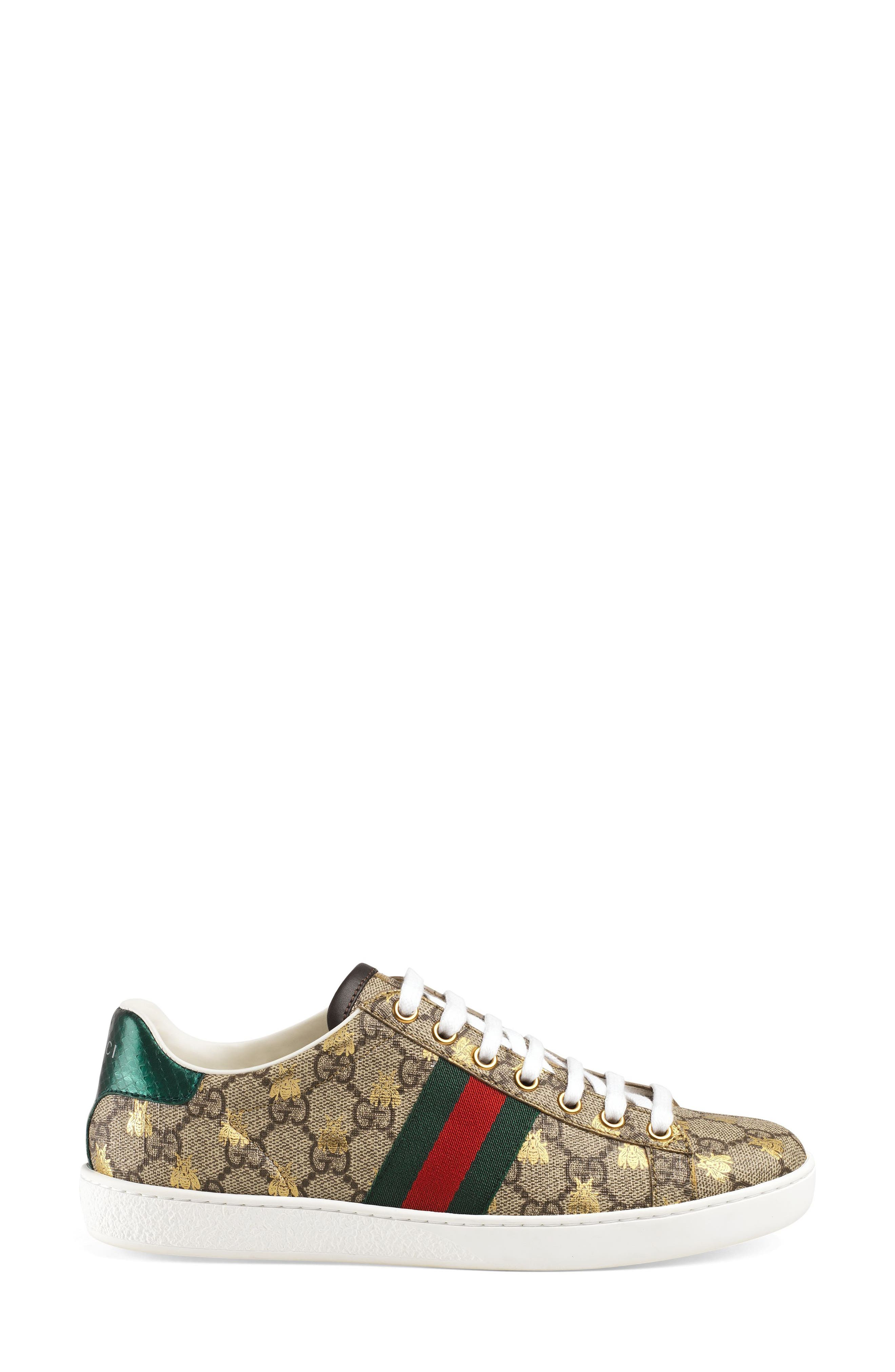 GUCCI, New Ace Monogram Bee Sneaker, Alternate thumbnail 2, color, BEIGE/ GOLD