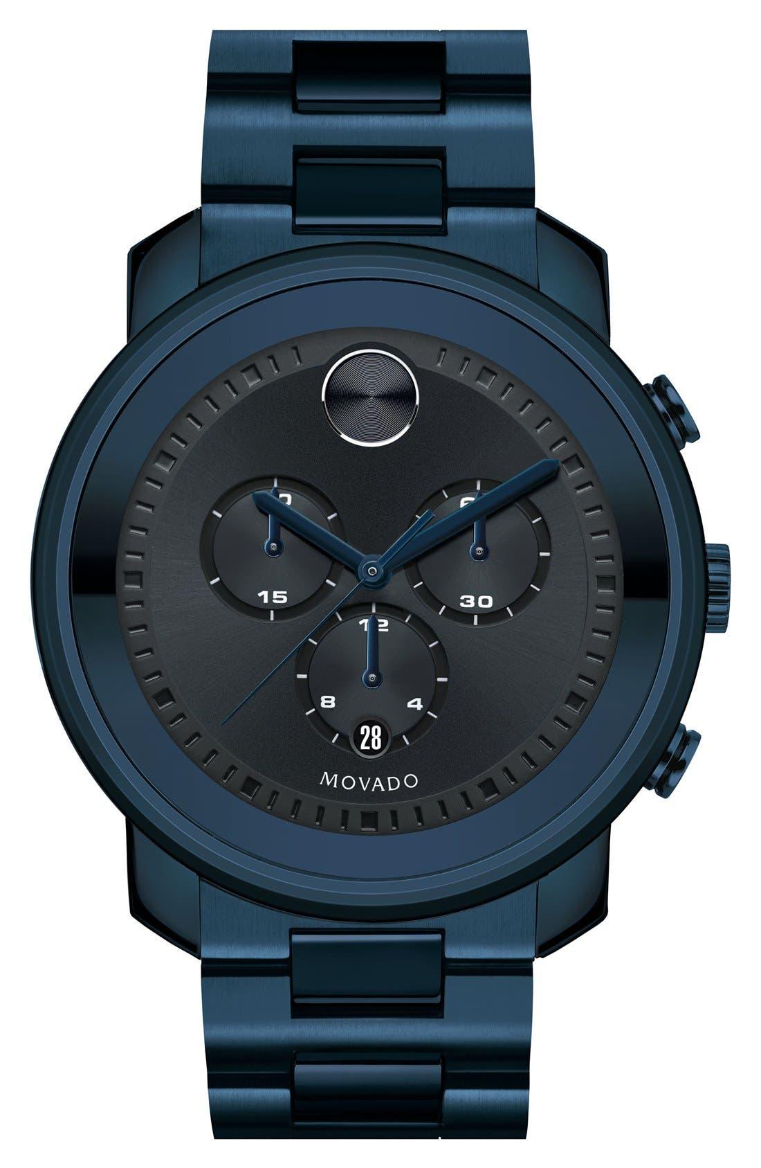 MOVADO, 'Bold' Chronograph Bracelet Watch, 44mm, Main thumbnail 1, color, BLUE