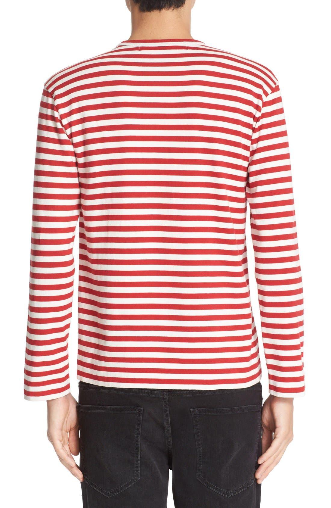 COMME DES GARÇONS PLAY, Stripe Long Sleeve T-Shirt, Alternate thumbnail 2, color, RED/ WHITE
