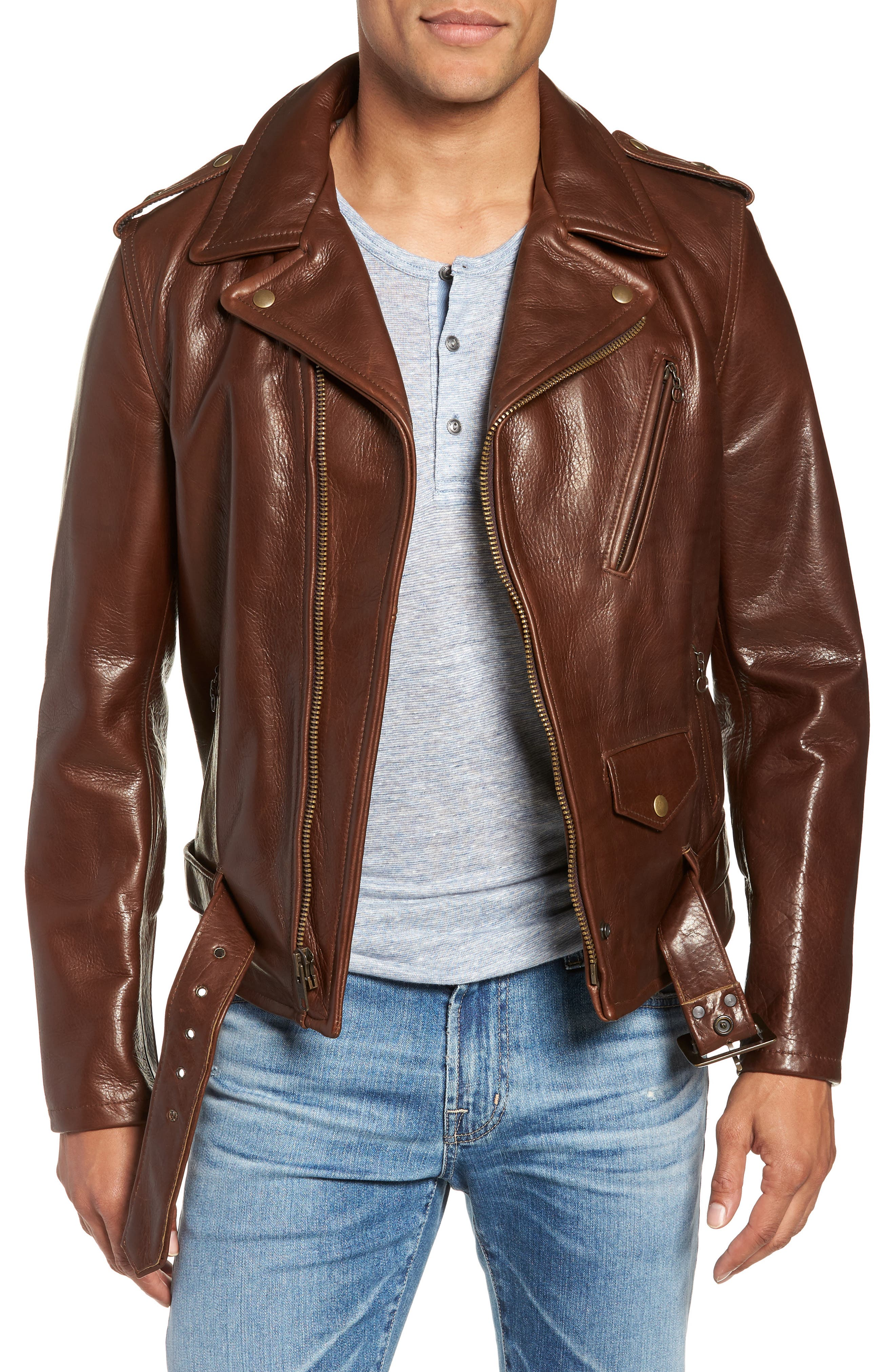 SCHOTT NYC, '50s Oil Tanned Cowhide Leather Moto Jacket, Main thumbnail 1, color, BROWN