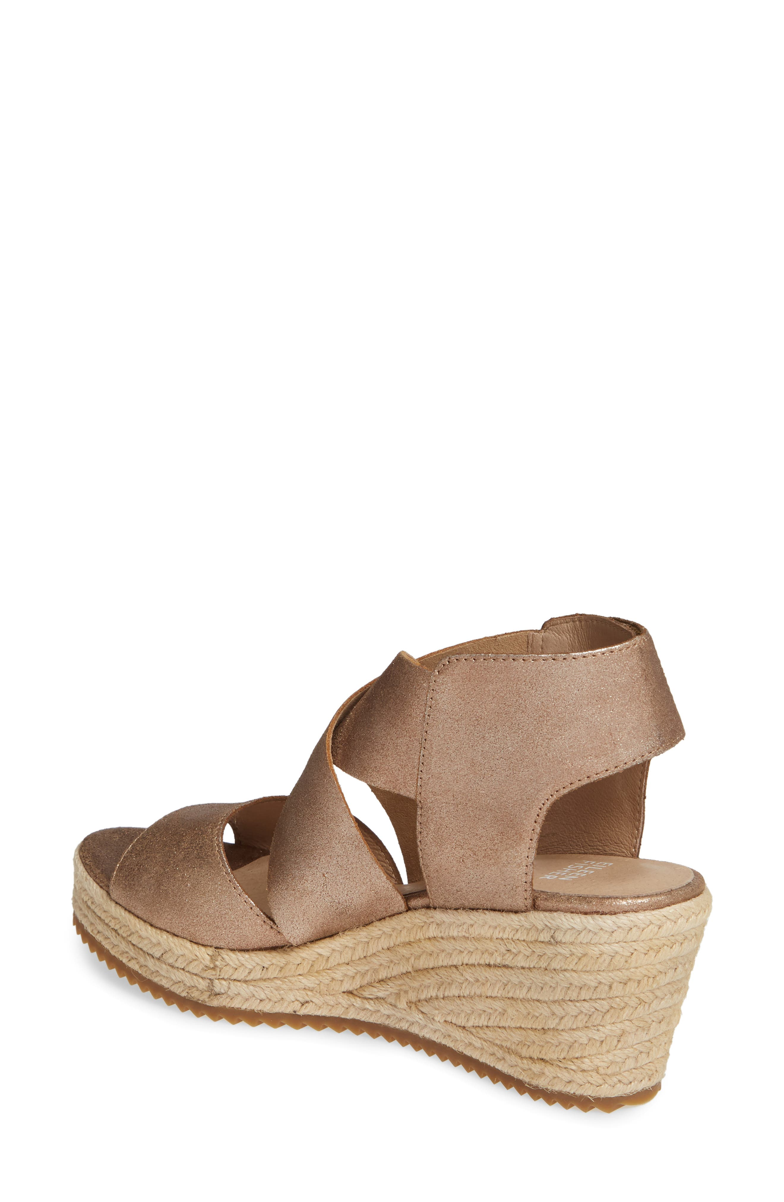 EILEEN FISHER, 'Willow' Espadrille Wedge Sandal, Alternate thumbnail 2, color, BRONZE/ BRONZE LEATHER