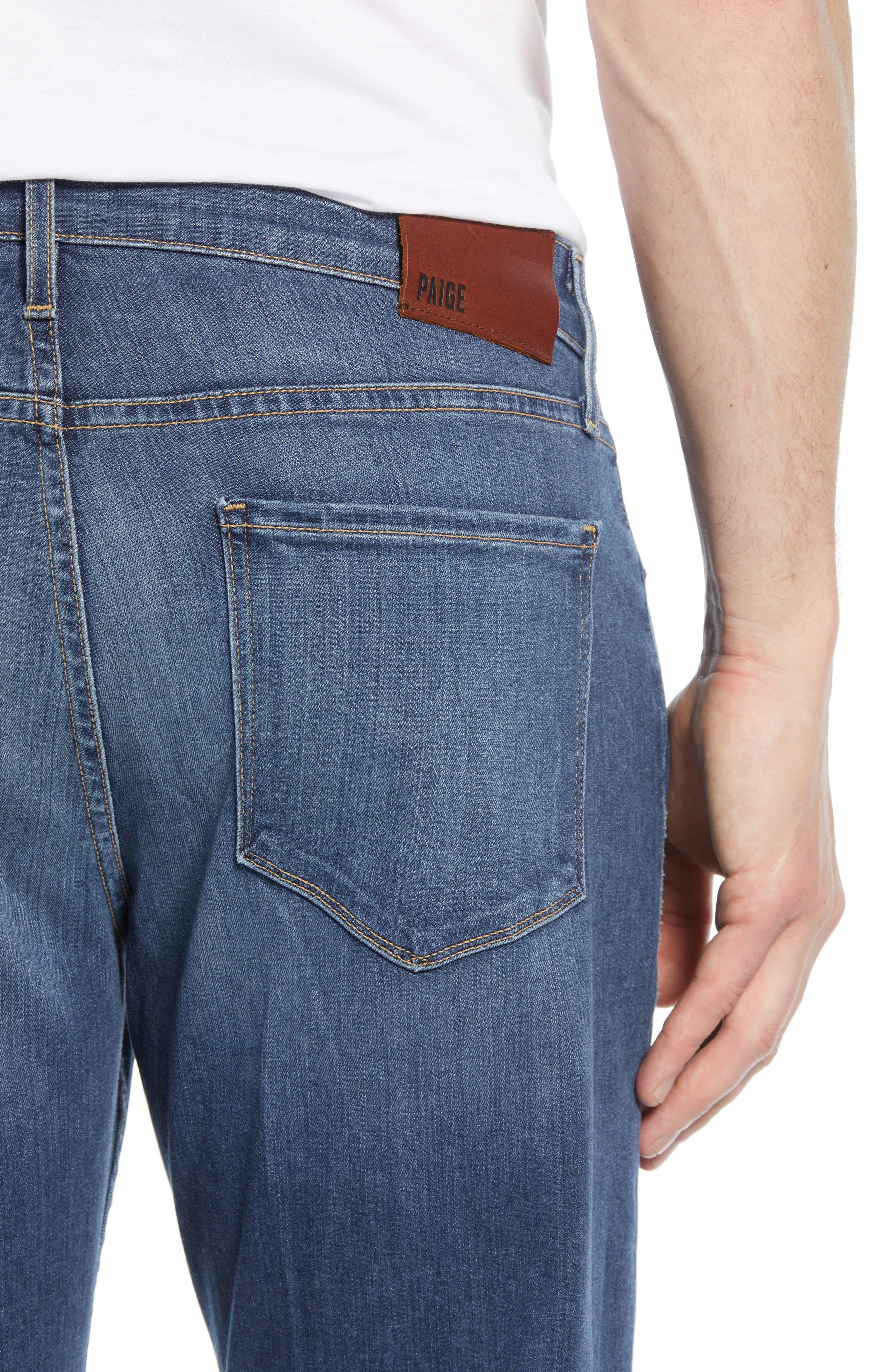 PAIGE, Transcend - Normandie Straight Leg Jeans, Alternate thumbnail 5, color, BIRCH