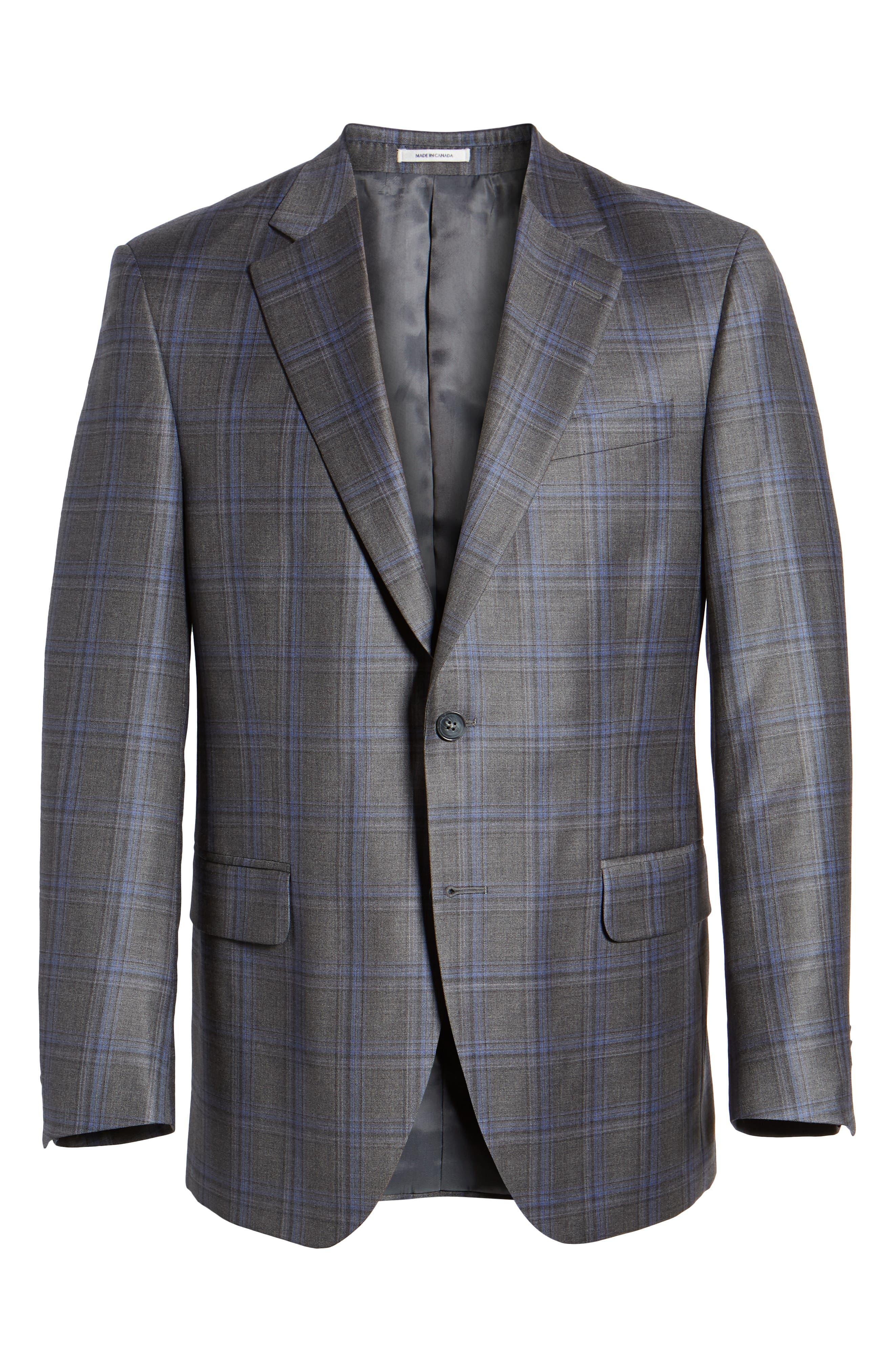 PETER MILLAR, Classic Fit Grey Plaid Sport Coat, Alternate thumbnail 5, color, GREY