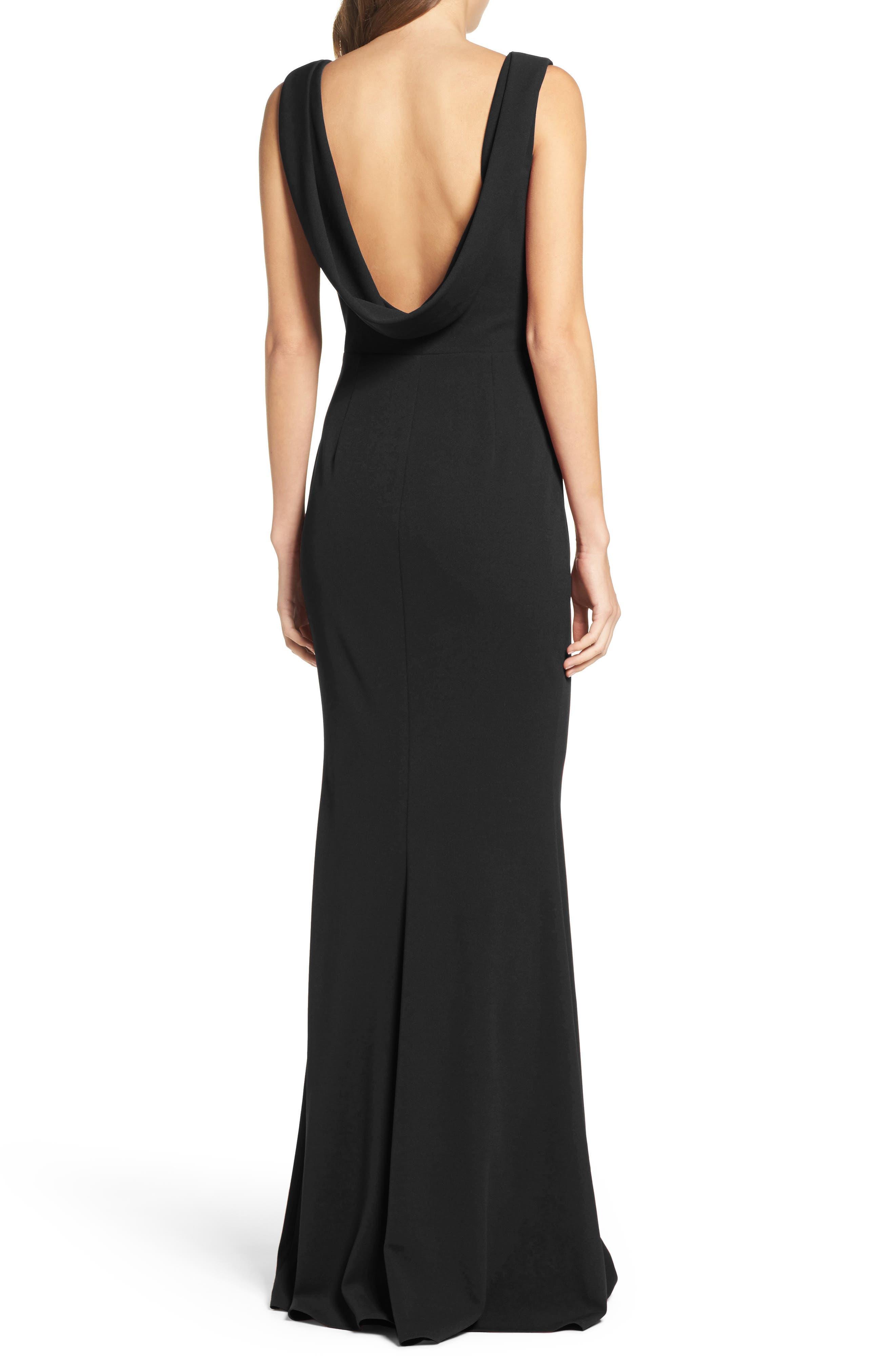 KATIE MAY, Vionnet Drape Back Crepe Gown, Alternate thumbnail 2, color, BLACK