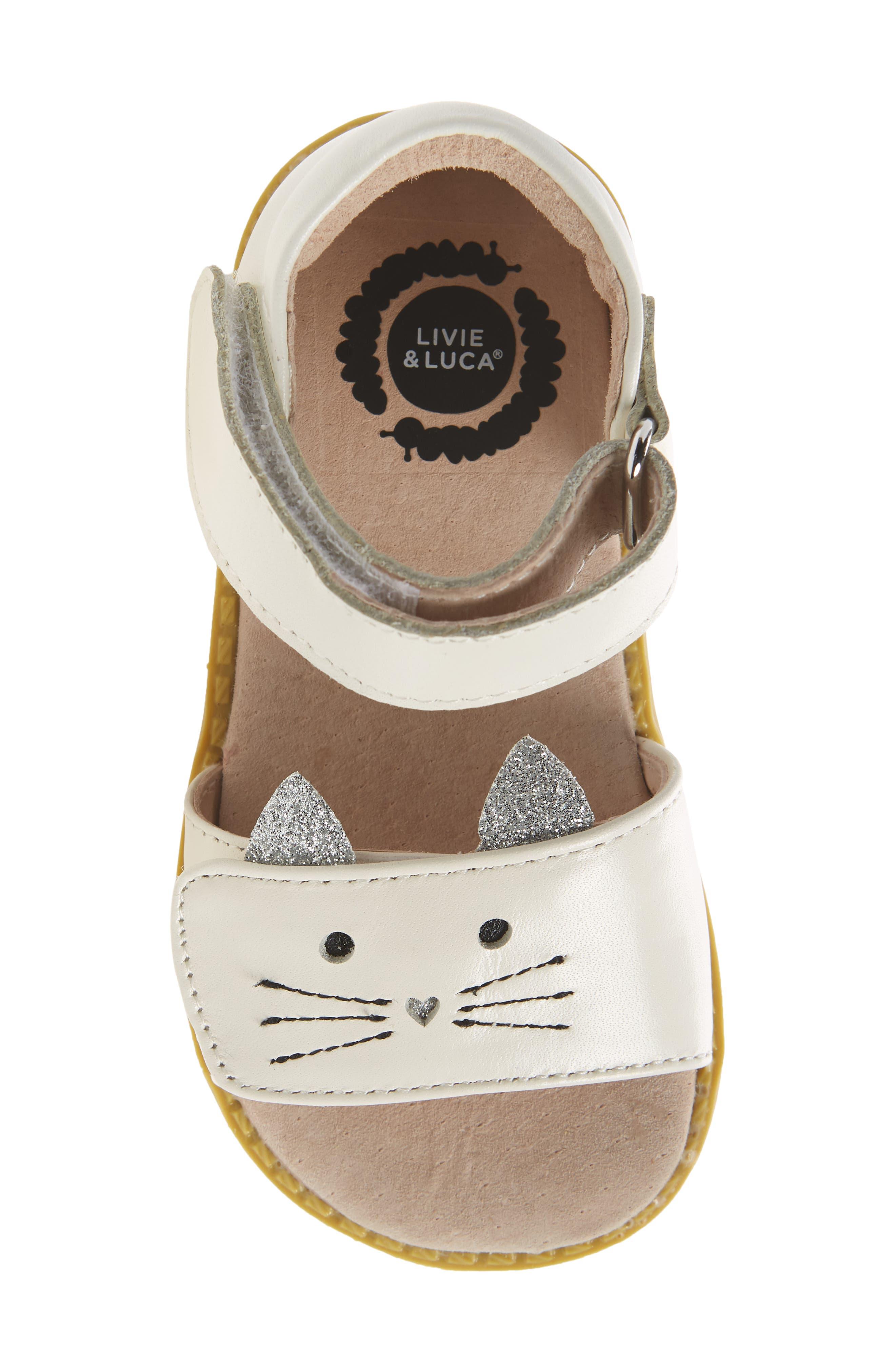 LIVIE & LUCA, Tabby Kitty Face Sandal, Alternate thumbnail 5, color, 106
