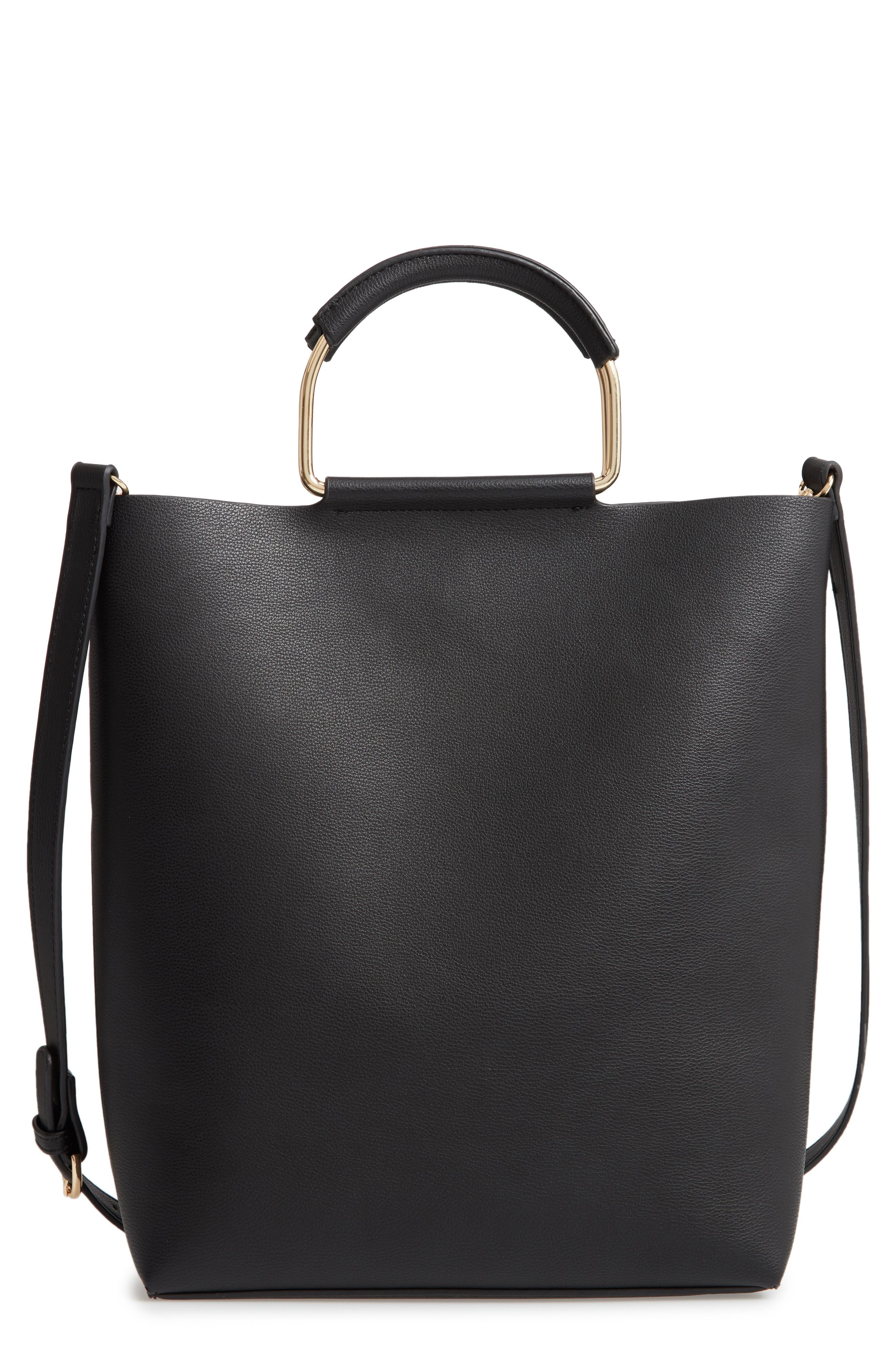 CHELSEA28, Payton Convertible Faux Leather Tote, Main thumbnail 1, color, BLACK
