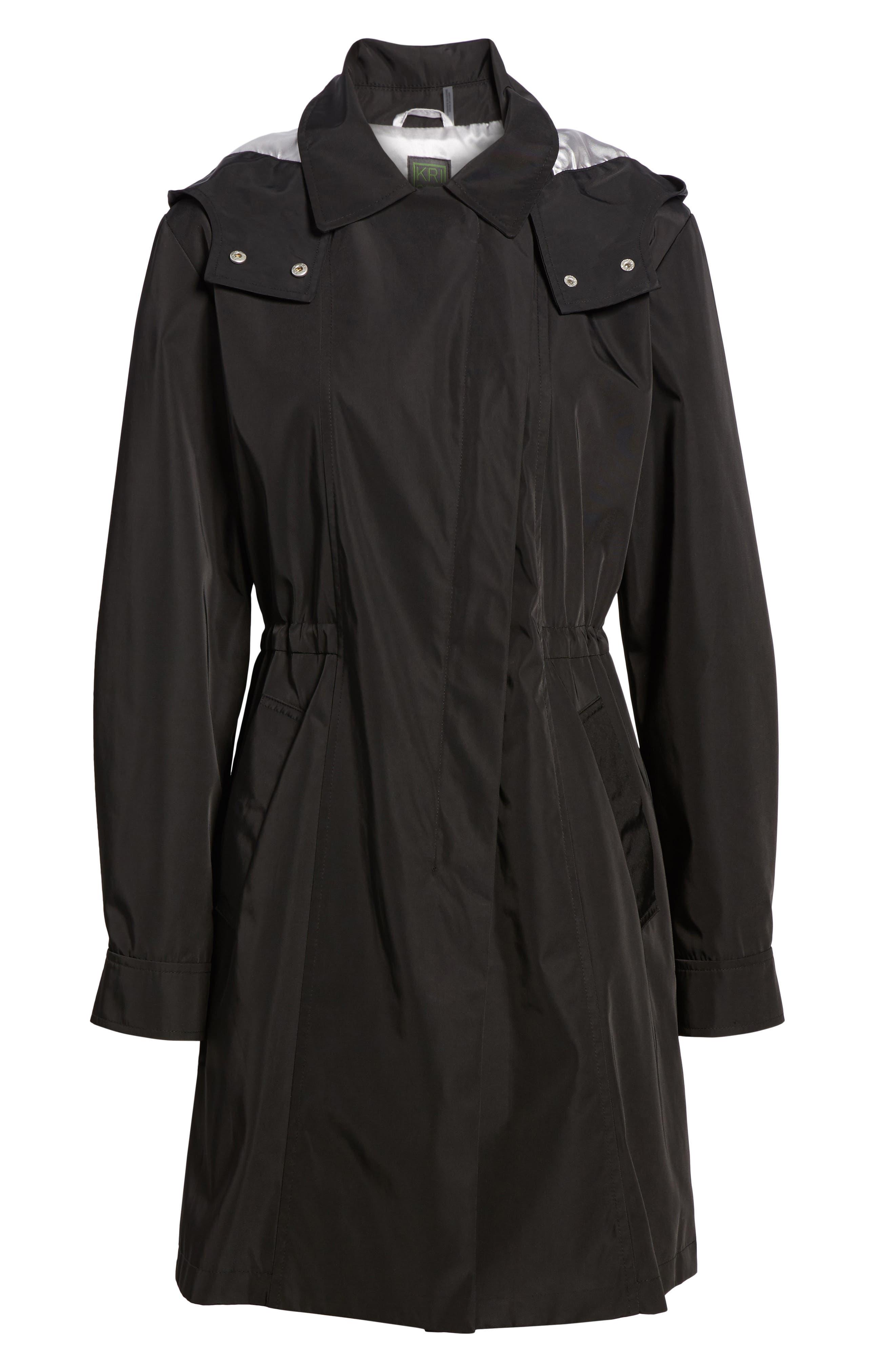 KRISTEN BLAKE, Tech Hooded Trench Coat, Alternate thumbnail 6, color, BLACK