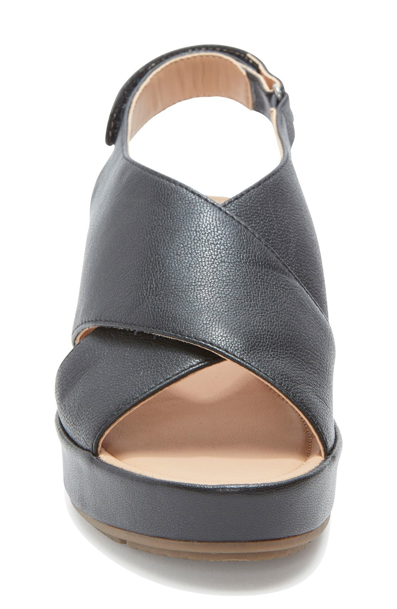 ME TOO, Arena Wedge Sandal, Alternate thumbnail 4, color, BLACK LEATHER