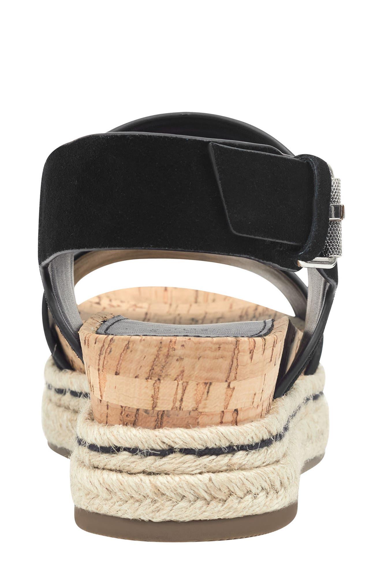 MARC FISHER LTD, Oria Espadrille Platform Sandal, Alternate thumbnail 7, color, BLACK SUEDE