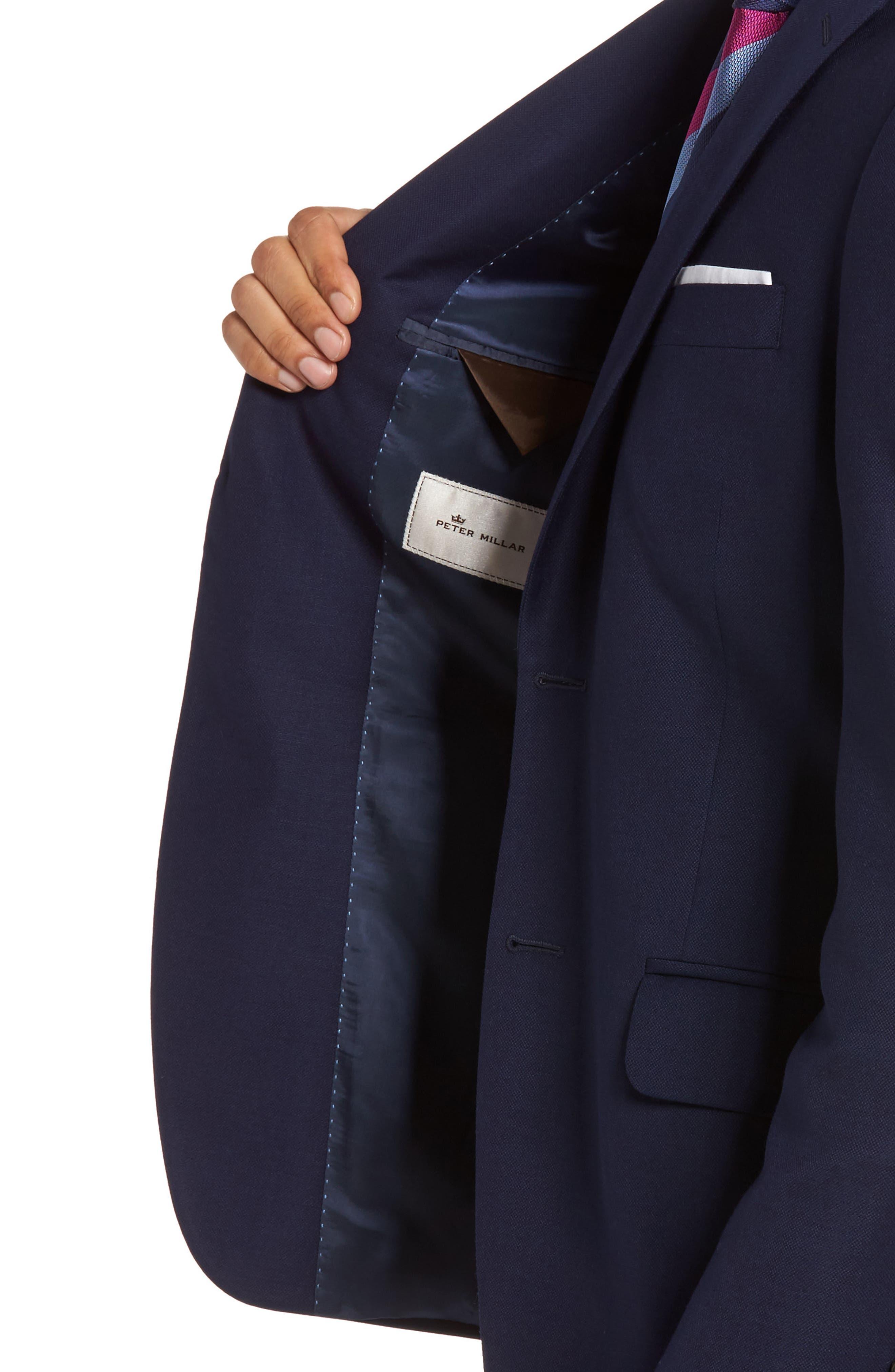 PETER MILLAR, Flynn Classic Fit Wool Blazer, Alternate thumbnail 4, color, NAVY