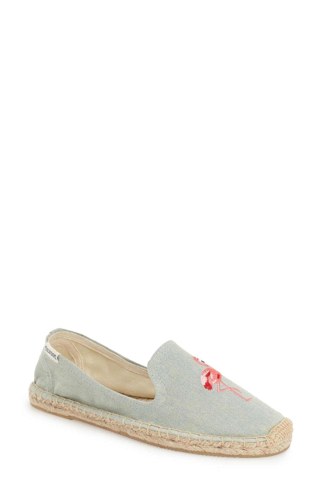 SOLUDOS, Espadrille Slip-On, Alternate thumbnail 3, color, FLAMINGO CHAMBRAY