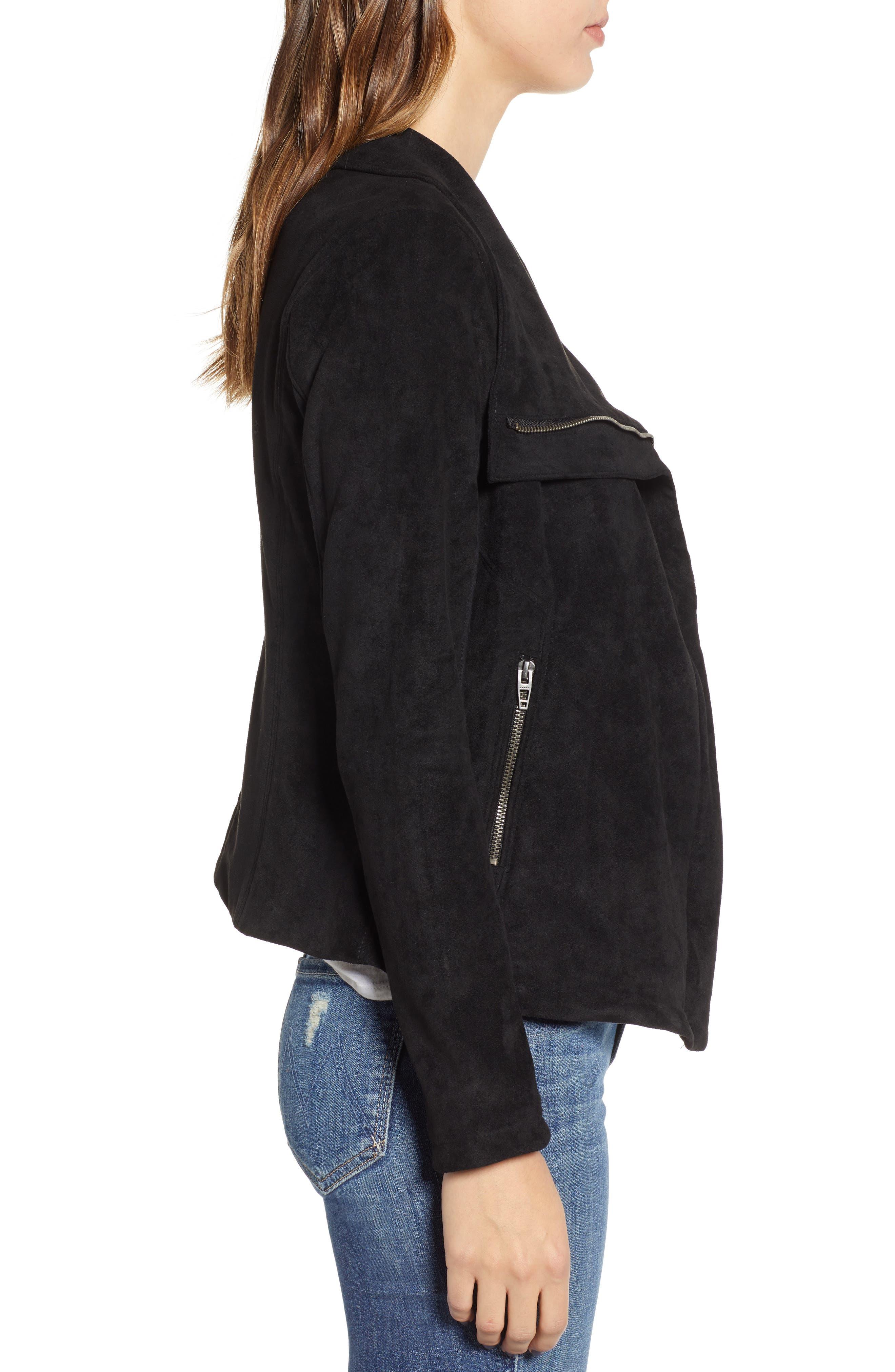BLANKNYC, Legendary Faux Suede Jacket, Alternate thumbnail 4, color, 001