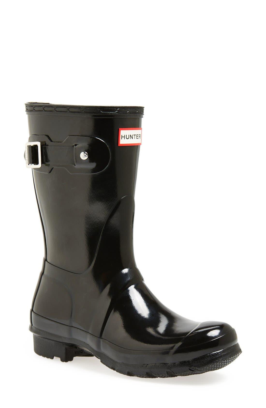 HUNTER, Original Short Gloss Waterproof Rain Boot, Main thumbnail 1, color, BLACK