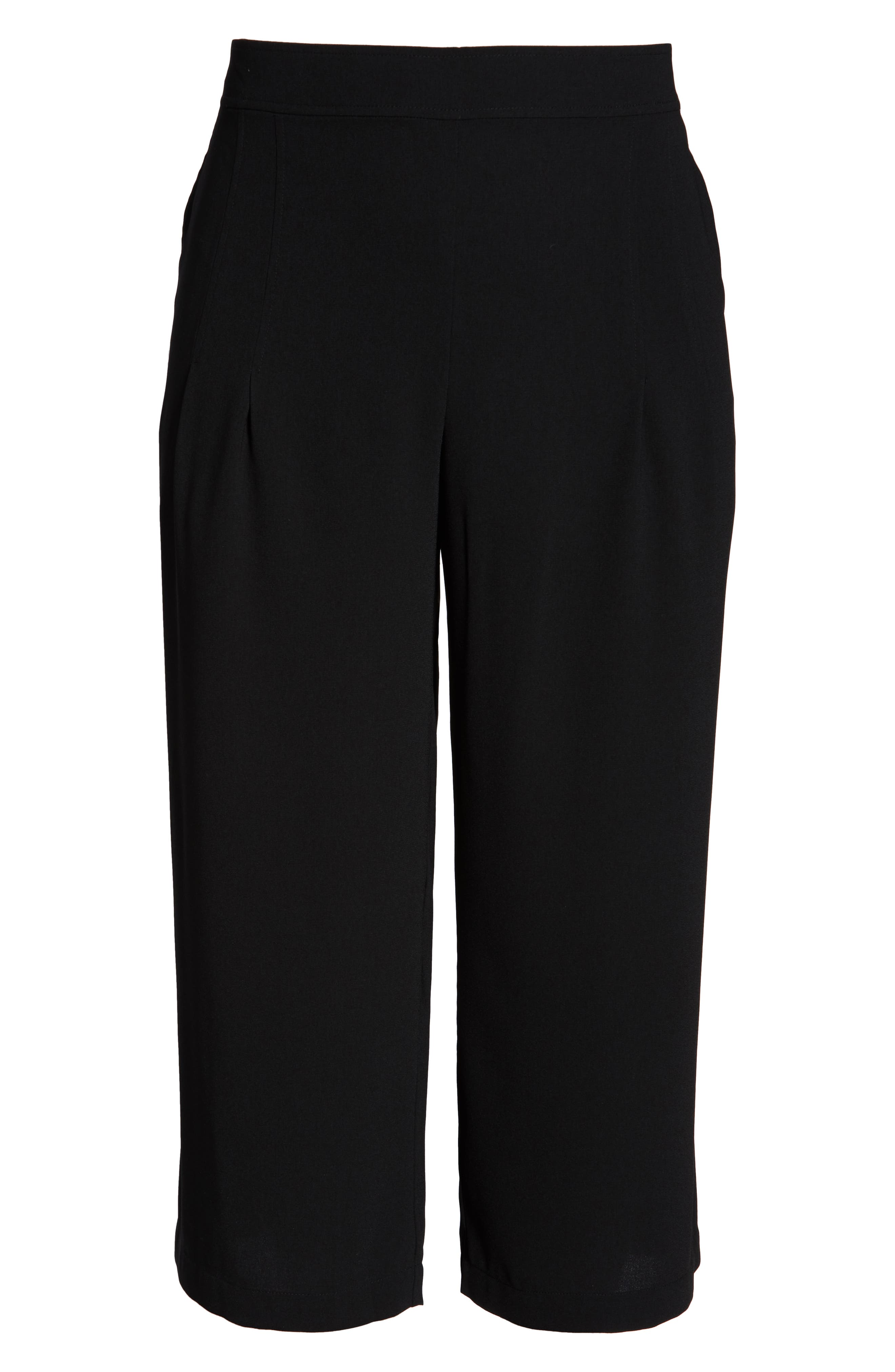 BP., High Waist Soft Wide Leg Crop Pants, Alternate thumbnail 13, color, BLACK
