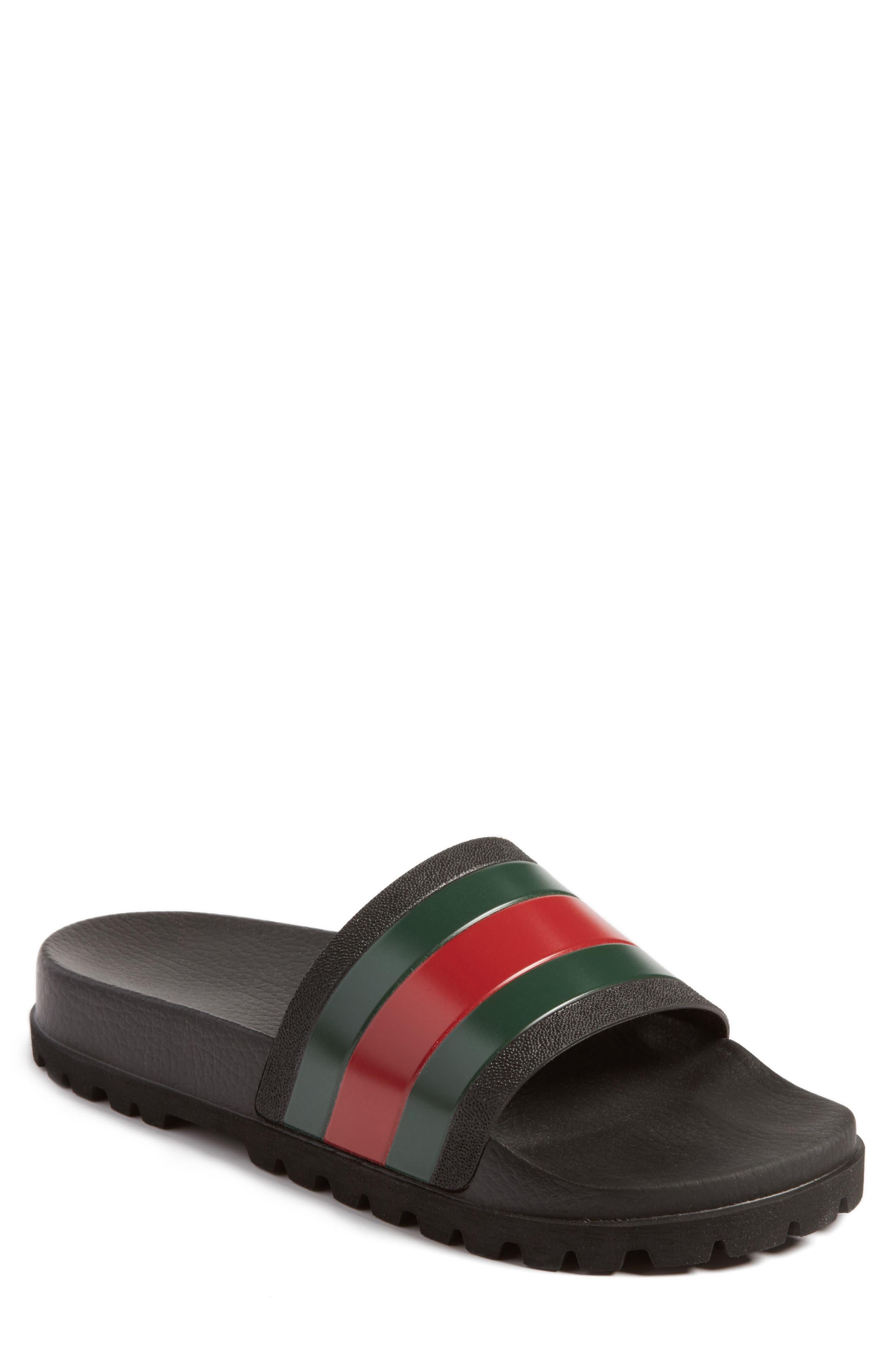GUCCI, 'Pursuit Treck' Slide Sandal, Main thumbnail 1, color, NERO/NERO