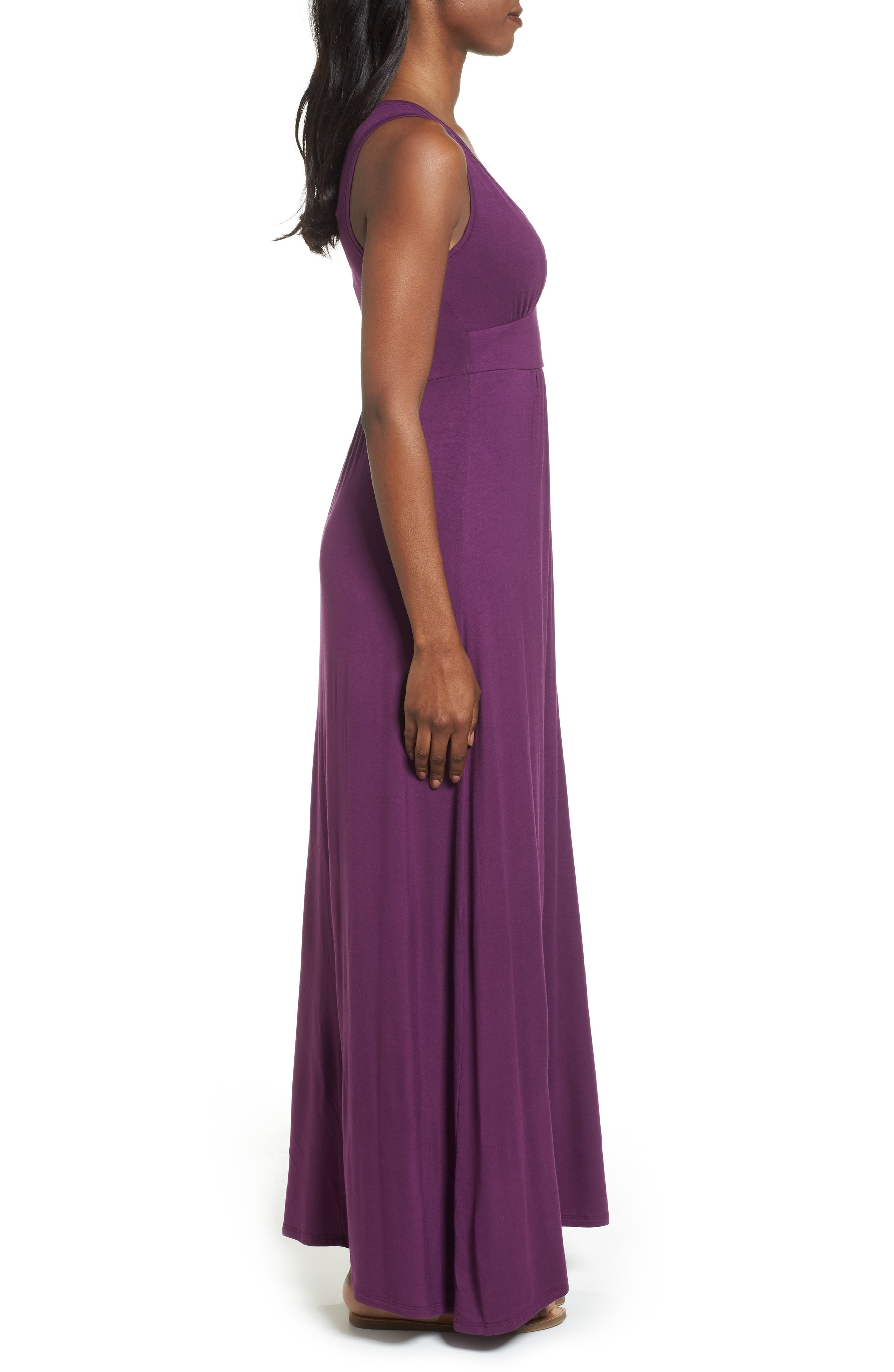 LOVEAPPELLA, V-Neck Jersey Maxi Dress, Alternate thumbnail 4, color, PURPLE DARK