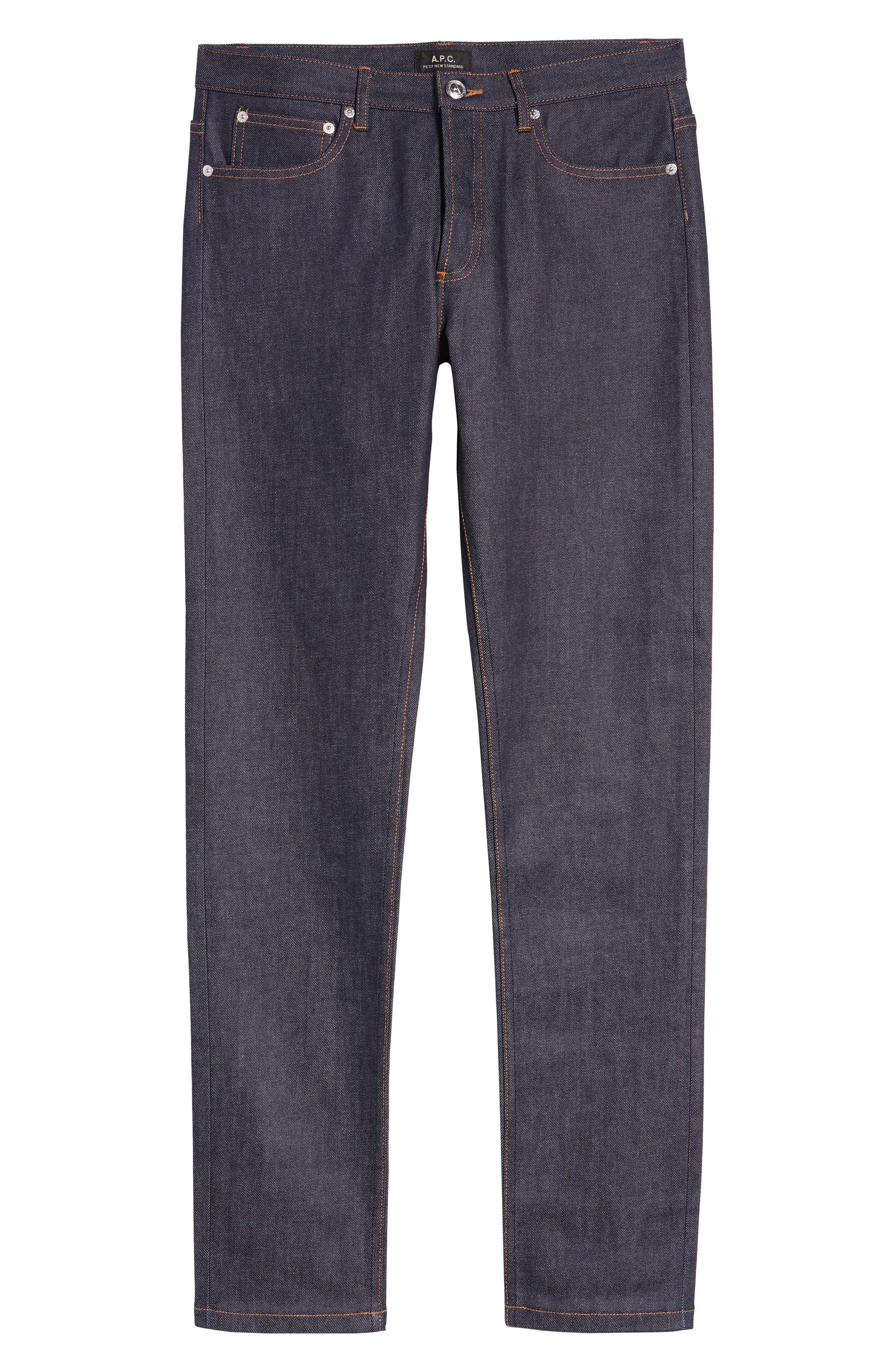 A.P.C., Petite New Standard Skinny Fit Jeans, Alternate thumbnail 2, color, INDIGO