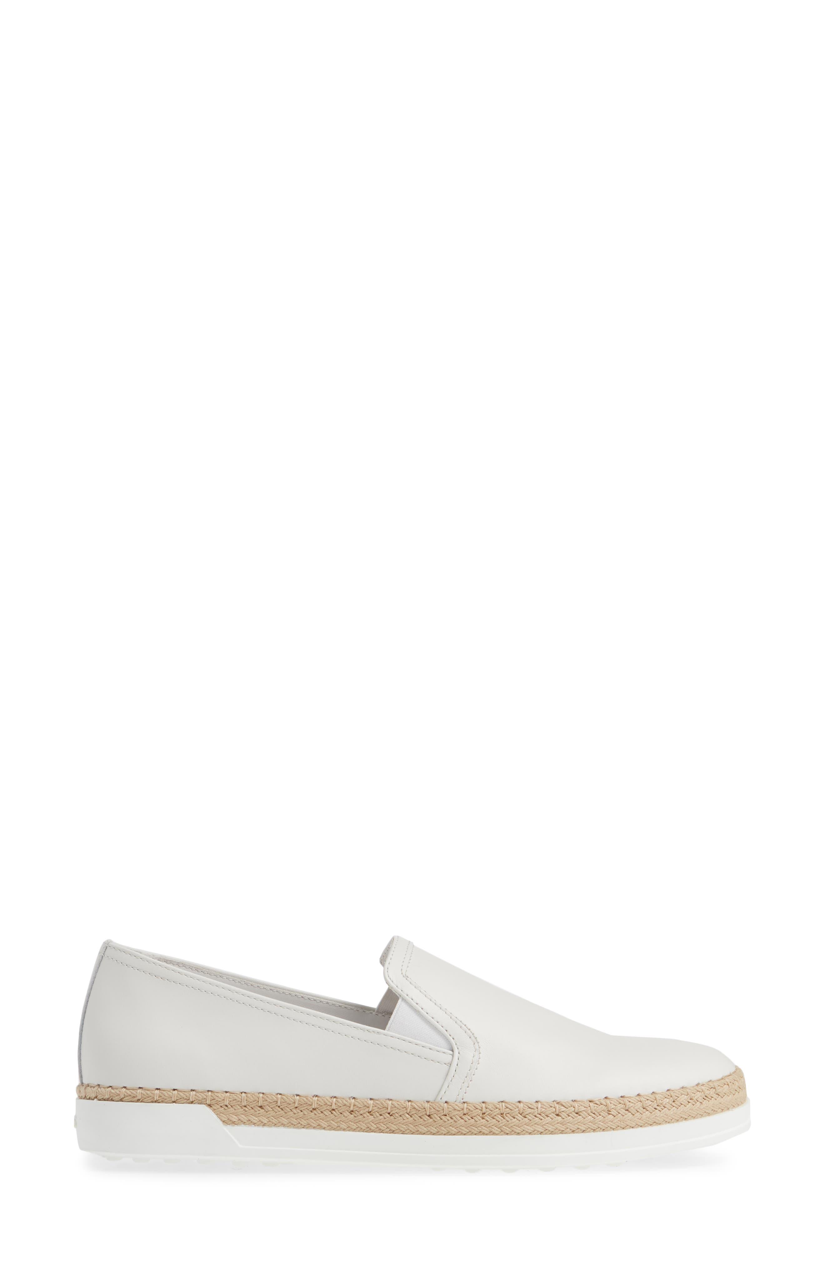TOD'S, Espadrille Slip-On Sneaker, Alternate thumbnail 3, color, WHITE LEATHER