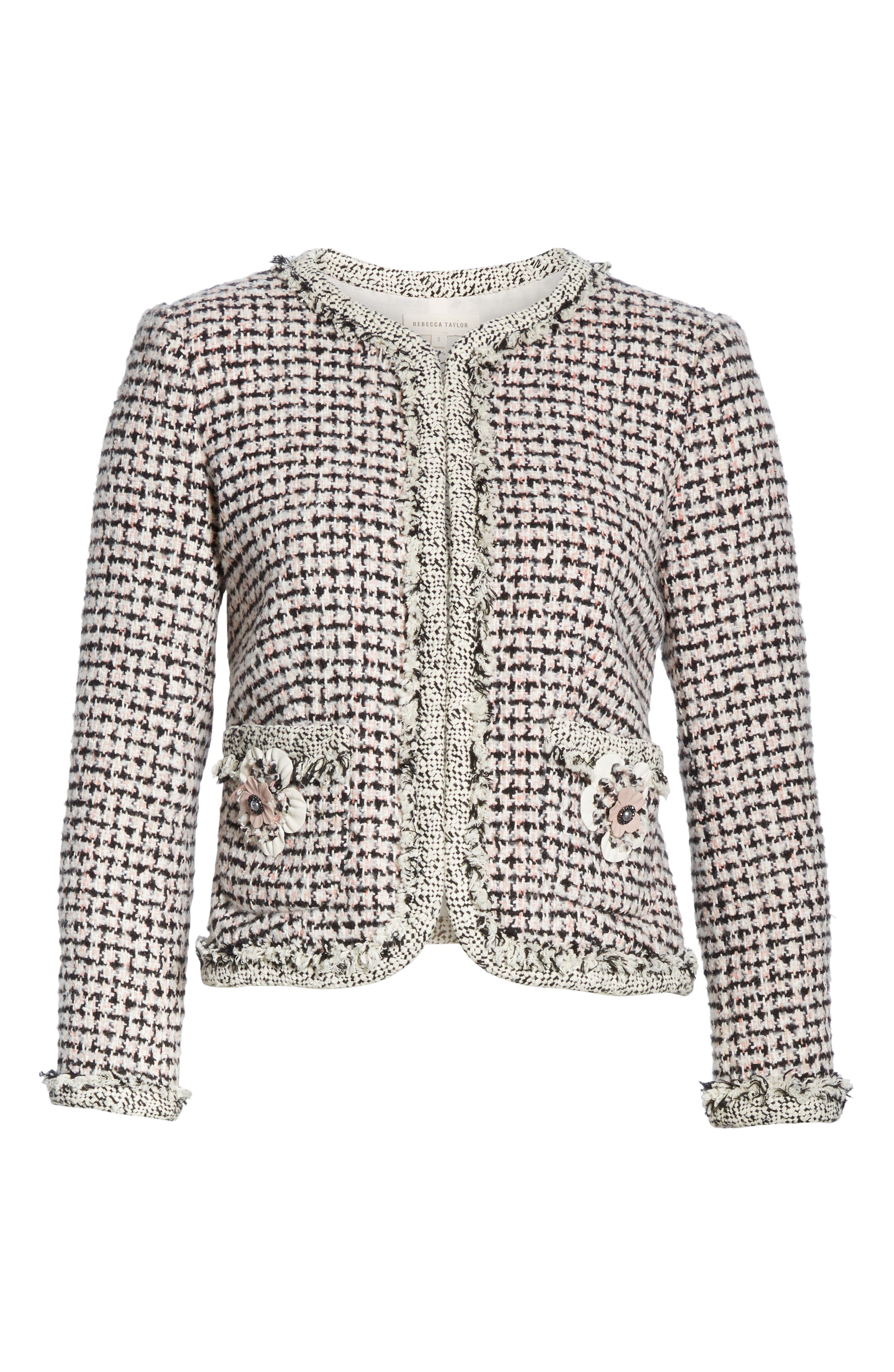 REBECCA TAYLOR, Houndstooth Tweed Jacket, Alternate thumbnail 6, color, BLACK/ PINK COMBO