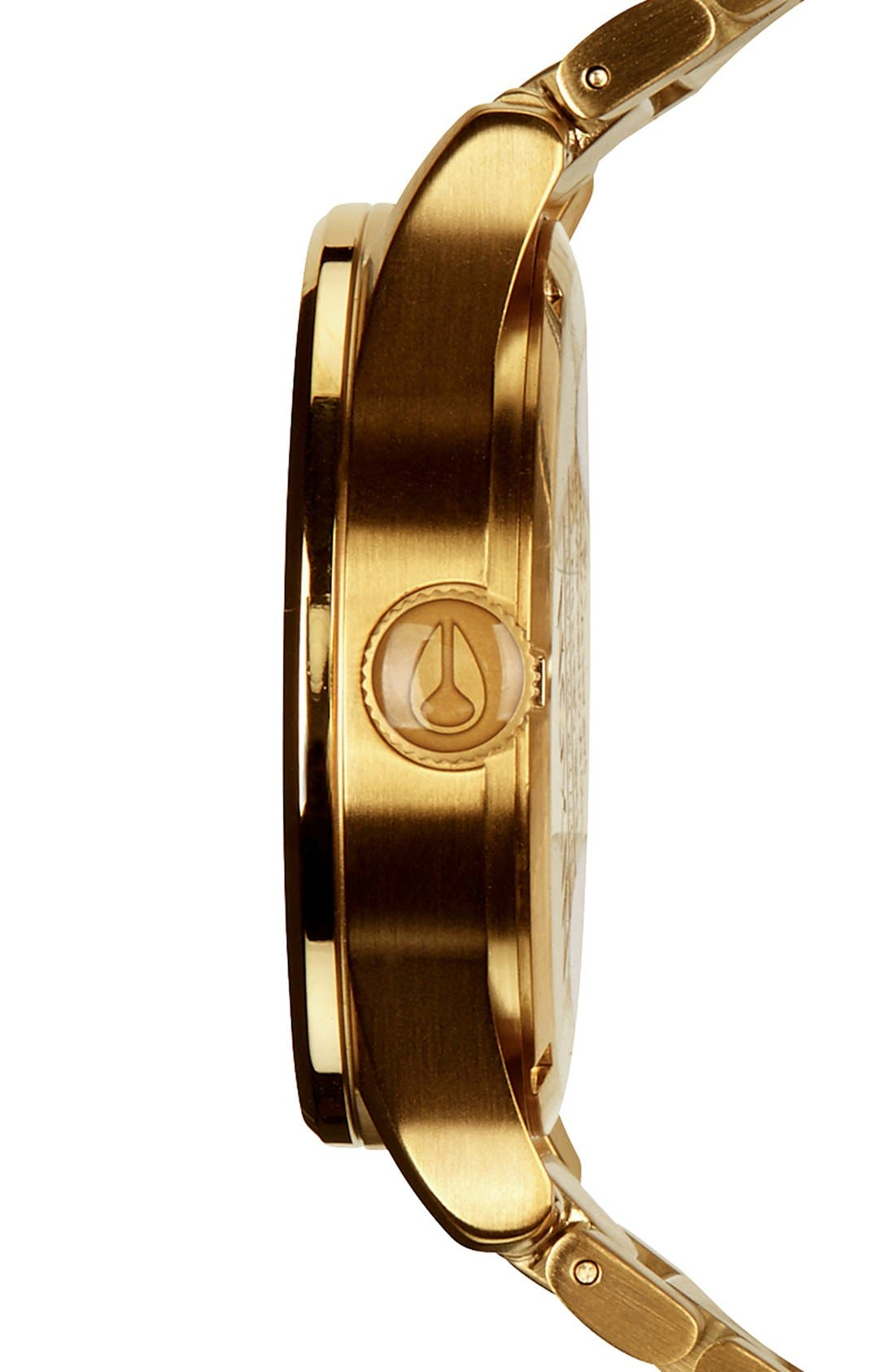 NIXON, Sentry Bracelet Watch, 42mm, Alternate thumbnail 4, color, GOLD