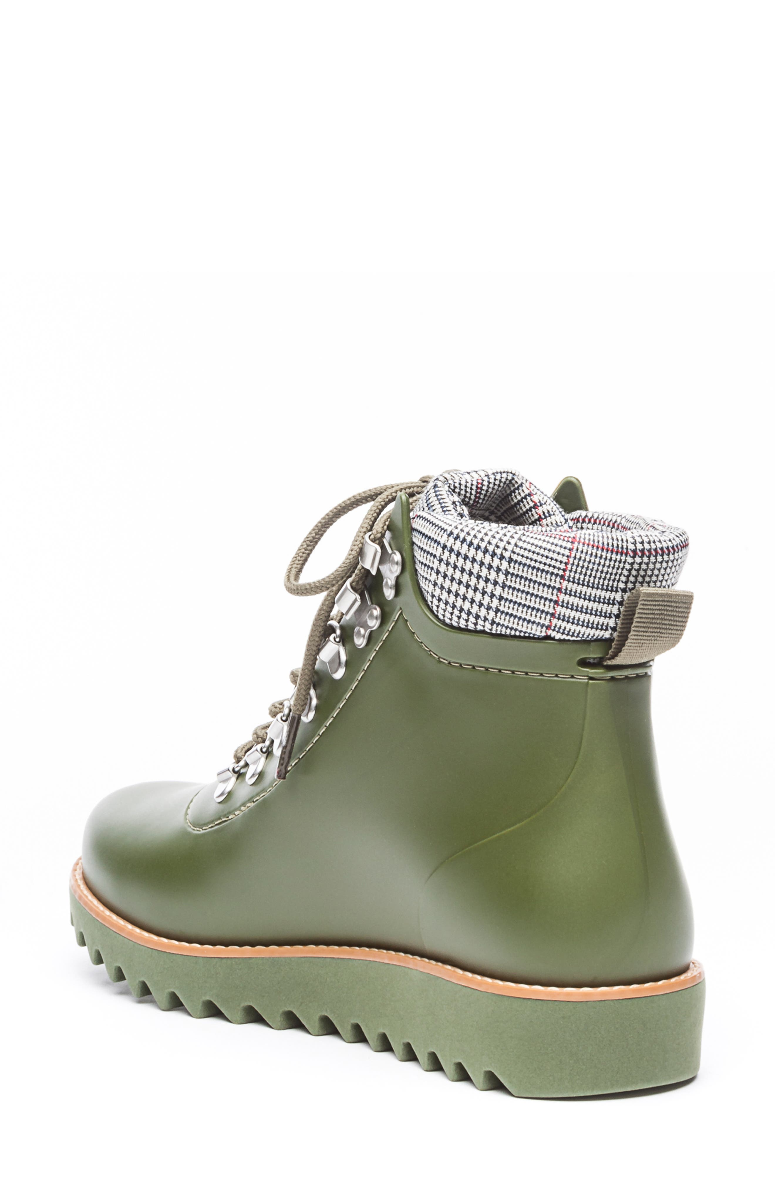BERNARDO, Winnie Waterproof Rain Bootie, Alternate thumbnail 2, color, MILITARY GREEN