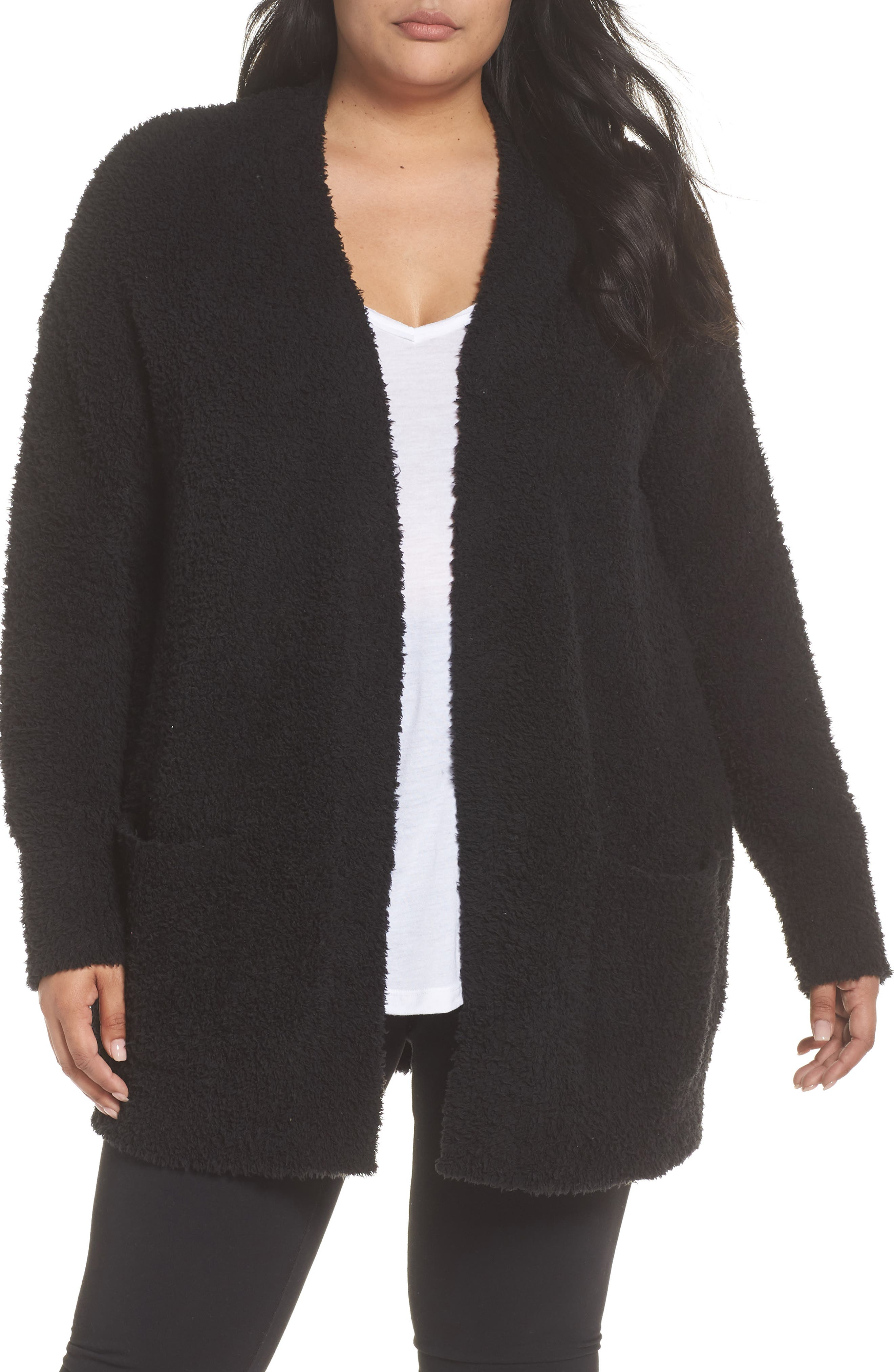 BAREFOOT DREAMS<SUP>®</SUP>, CozyChic<sup>®</sup> Cardigan, Main thumbnail 1, color, BLACK