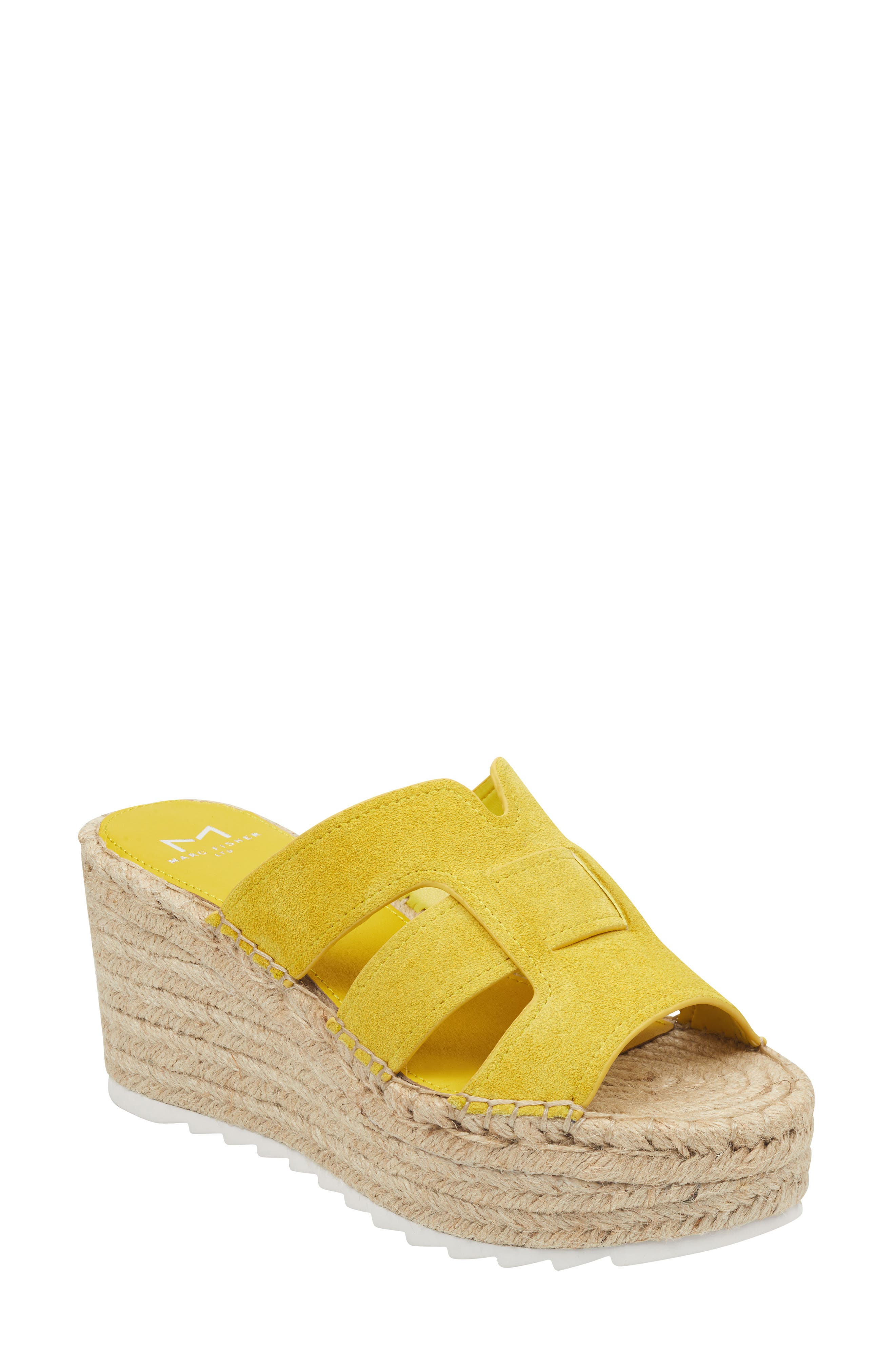 MARC FISHER LTD, Robbyn Espadrille Wedge Sandal, Main thumbnail 1, color, YELLOW SUEDE