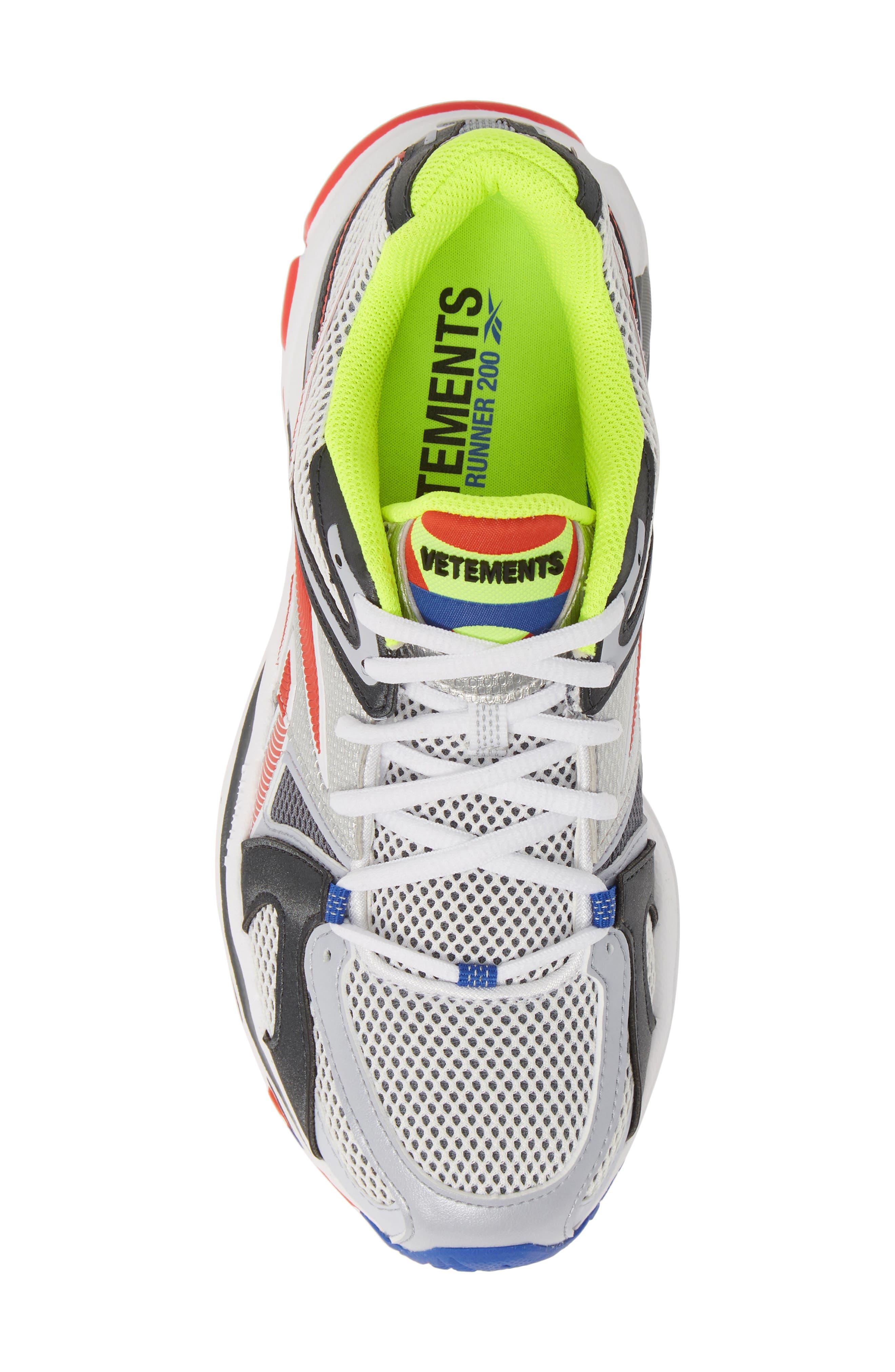 VETEMENTS, x Reebok Spike Runner 200 Sneaker, Alternate thumbnail 5, color, FLUO YELLOW
