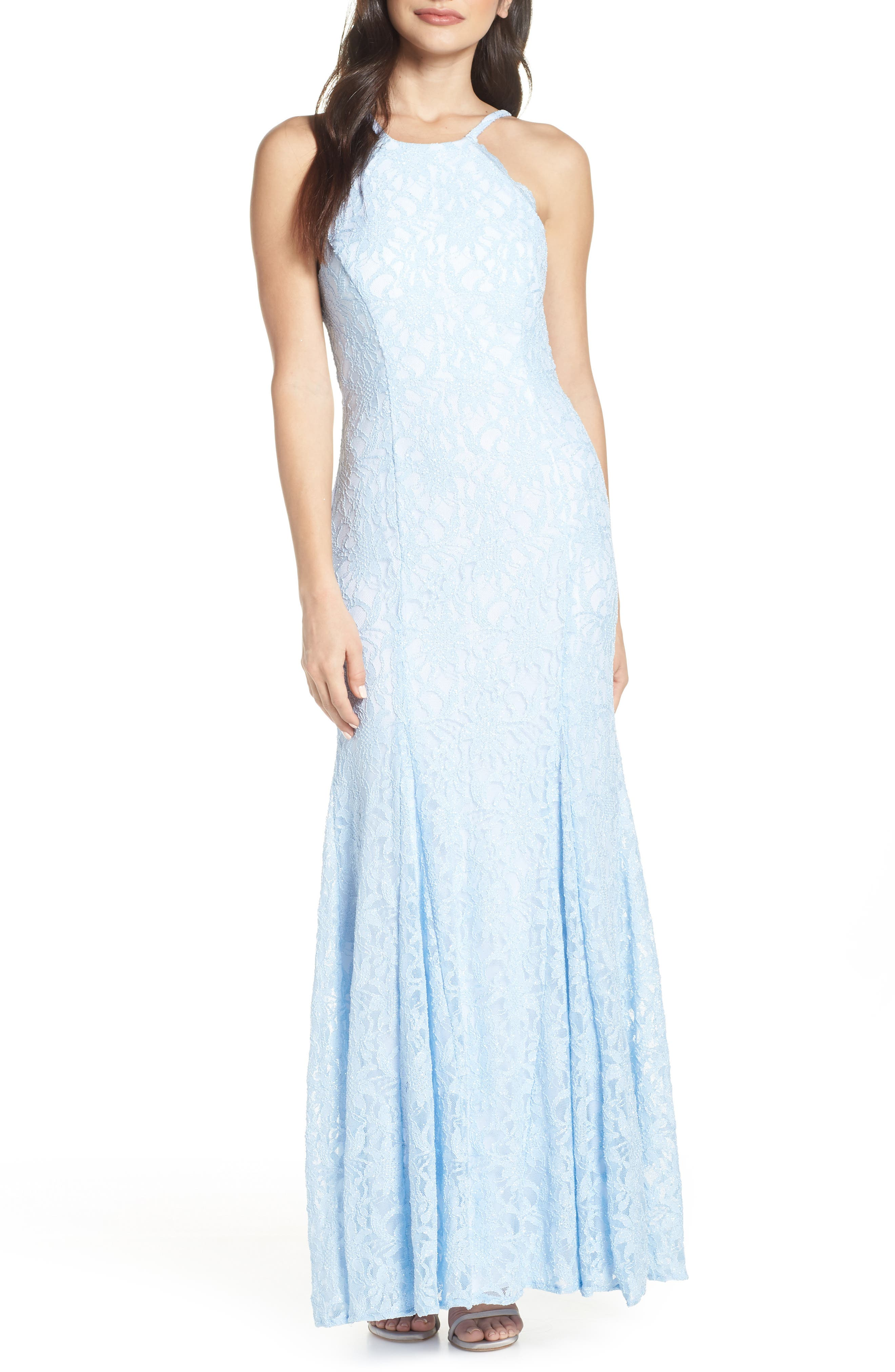 Morgan & Co. Strappy Back Lace Evening Dress, Blue