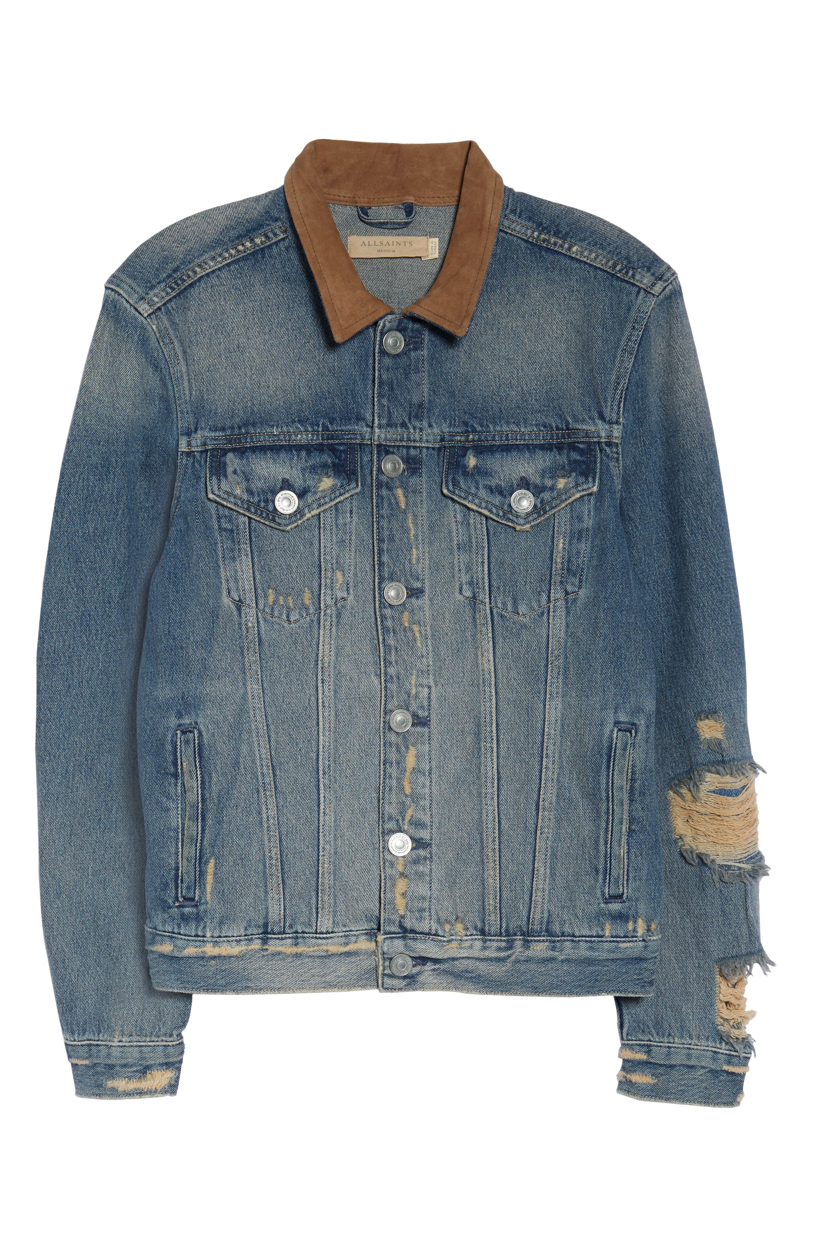 ALLSAINTS, Iren Slim Fit Denim Jacket with Leather Collar, Alternate thumbnail 5, color, MID INDIGO BLUE