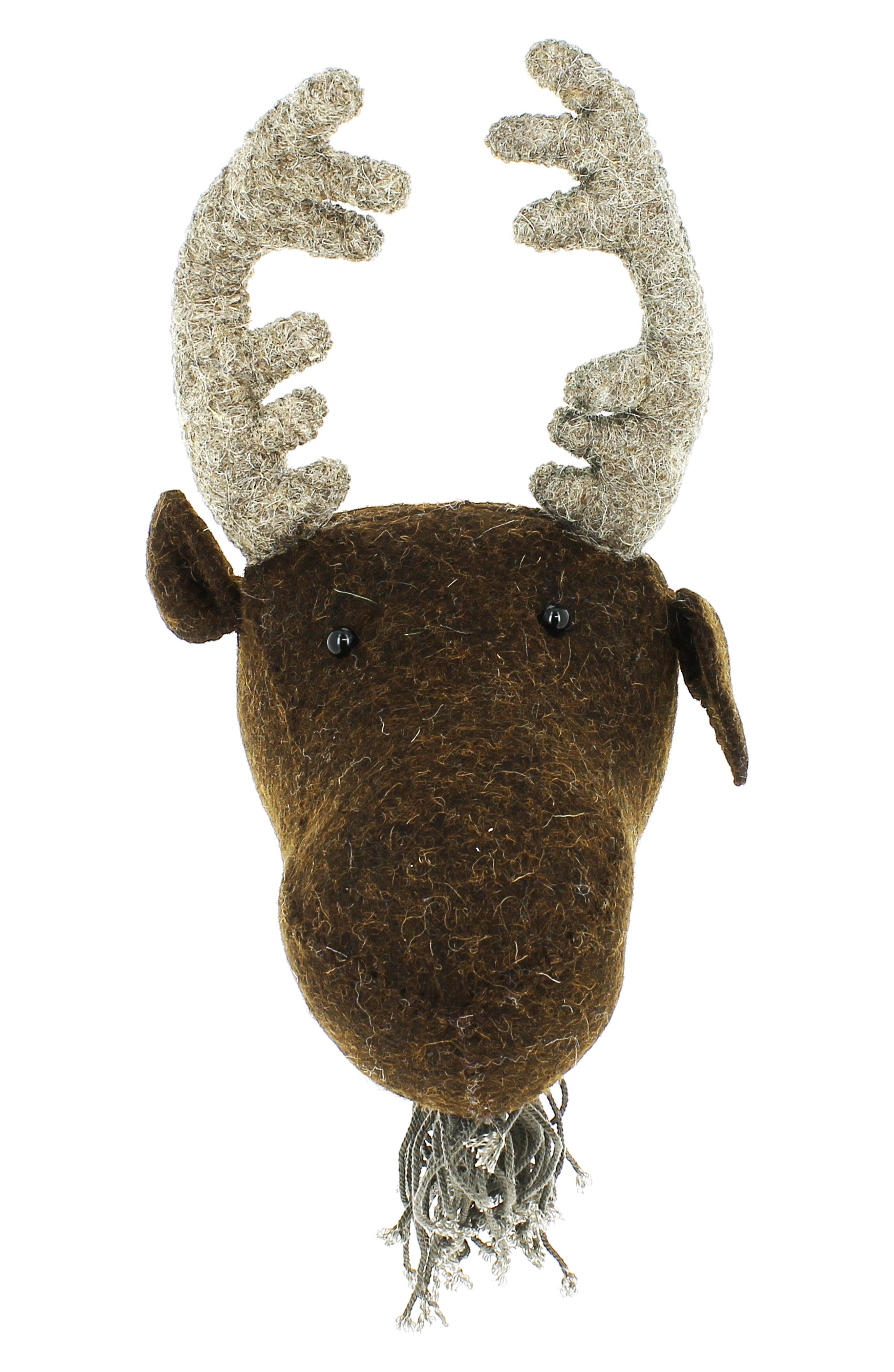 FIONA WALKER Mini Moose Head Wall Art, Main, color, BROWN