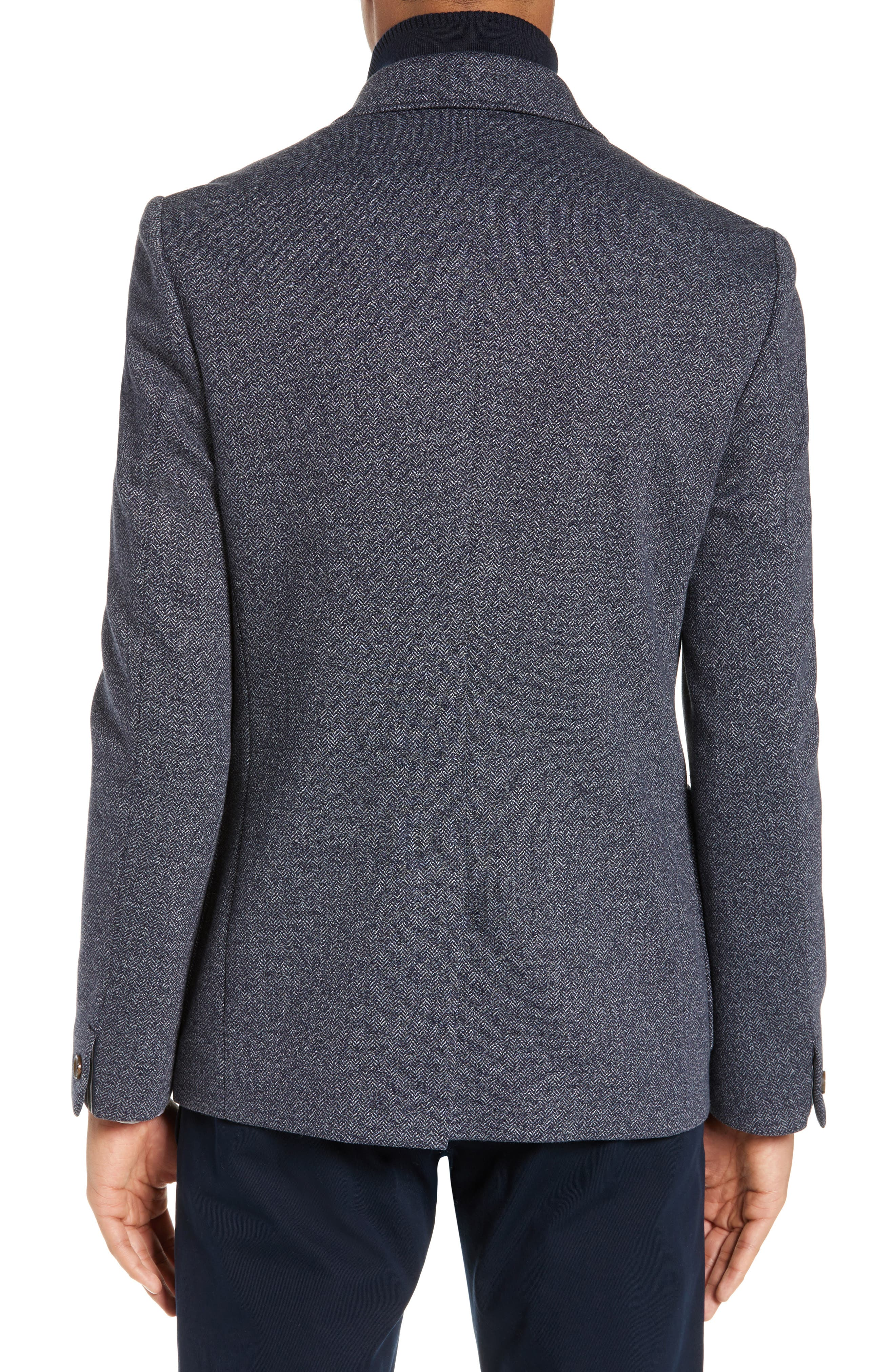 TED BAKER LONDON, Cole Layered Look Herringbone Jacket, Alternate thumbnail 2, color, BLUE