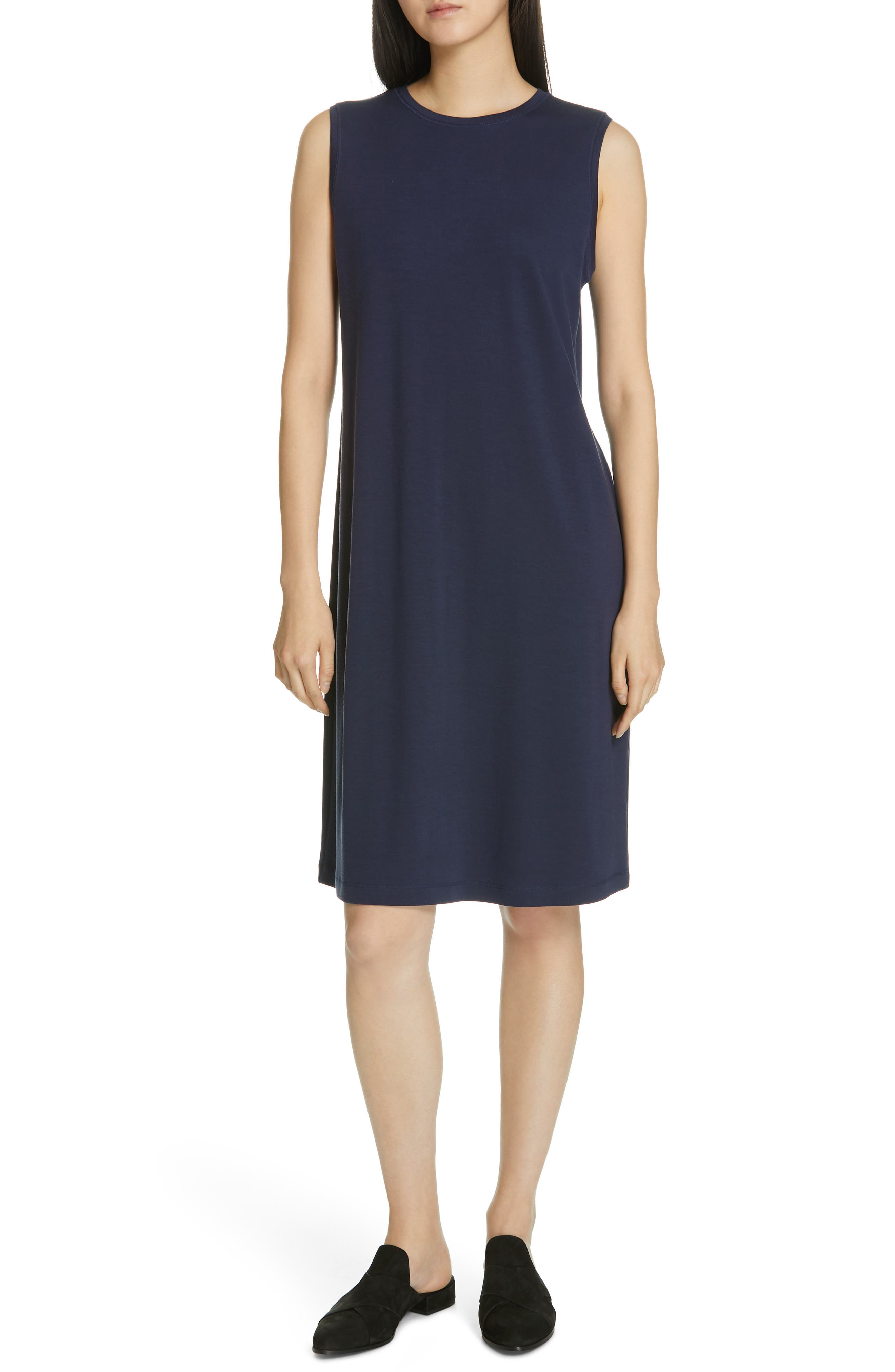 EILEEN FISHER Knit Shift Dress, Main, color, 402