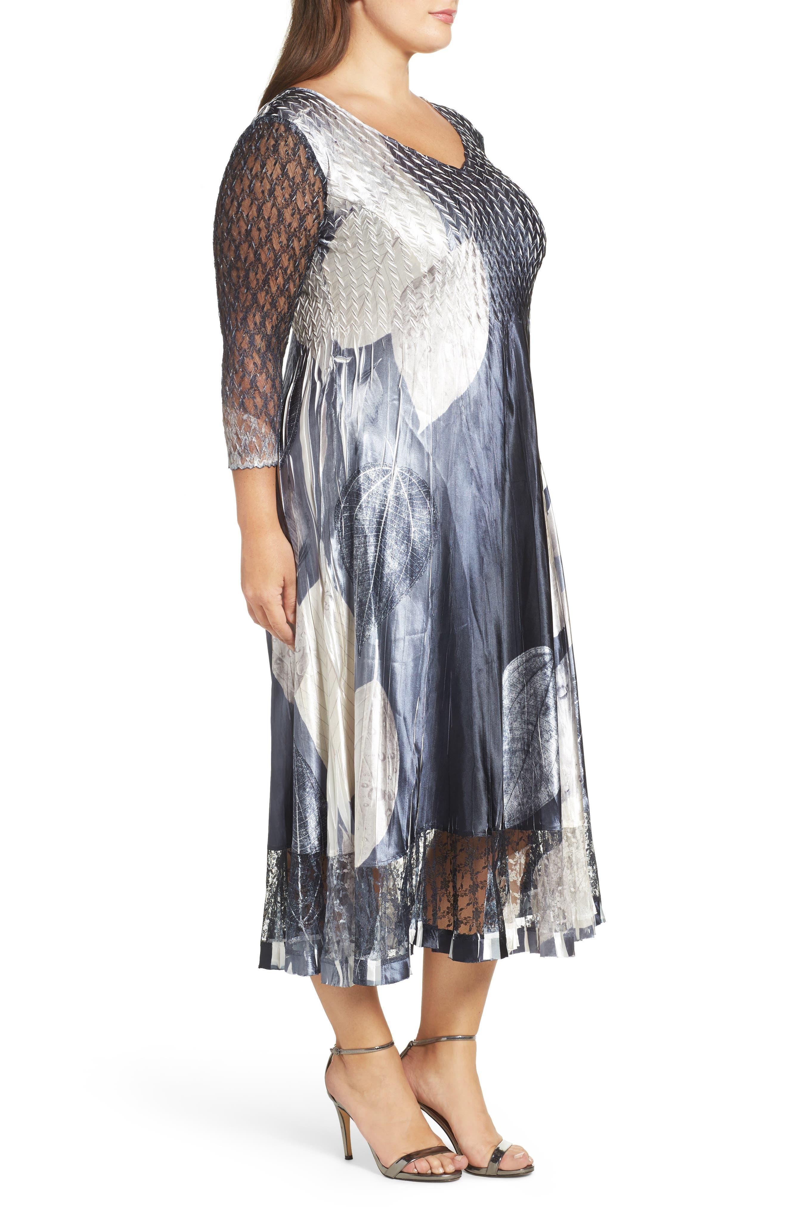 KOMAROV, Mixed Media Midi Dress, Alternate thumbnail 3, color, BLACK MONEY LEAVES