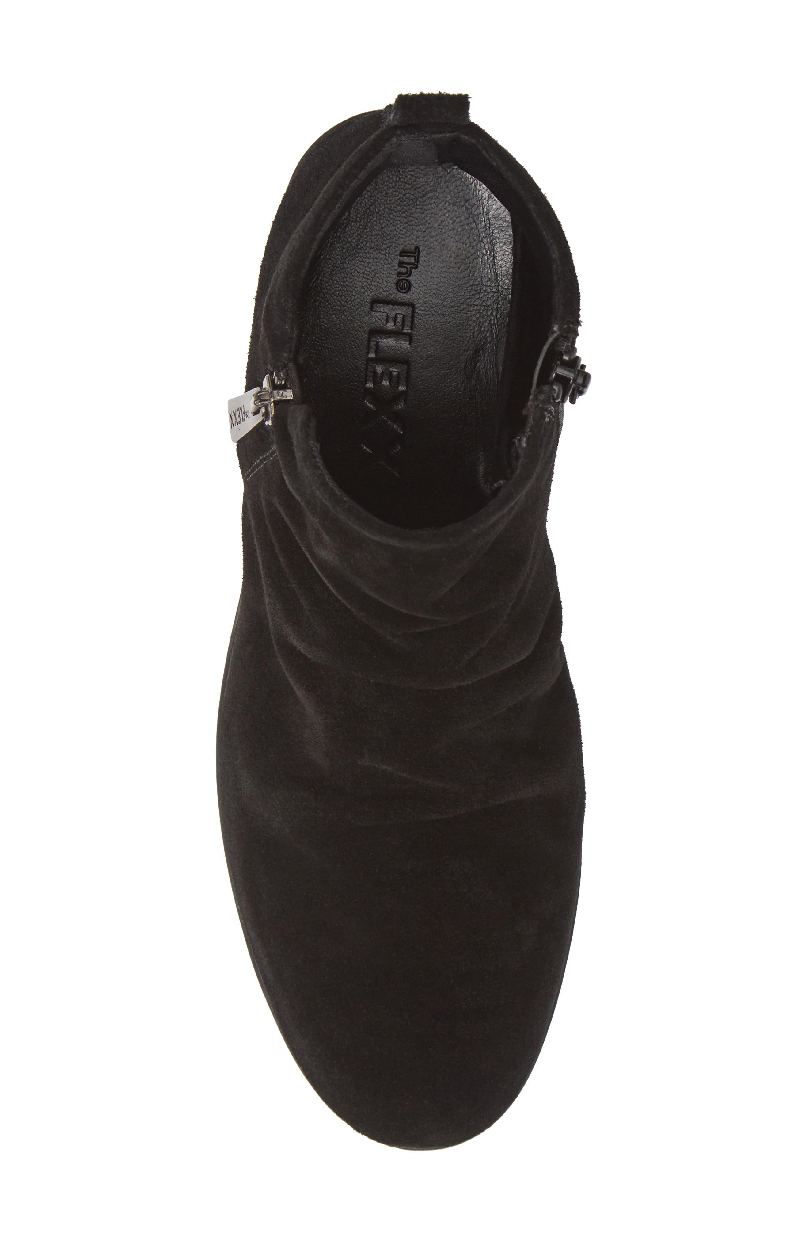 THE FLEXX, Slingshot Ankle Bootie, Alternate thumbnail 5, color, BLACK WATERPROOF SUEDE