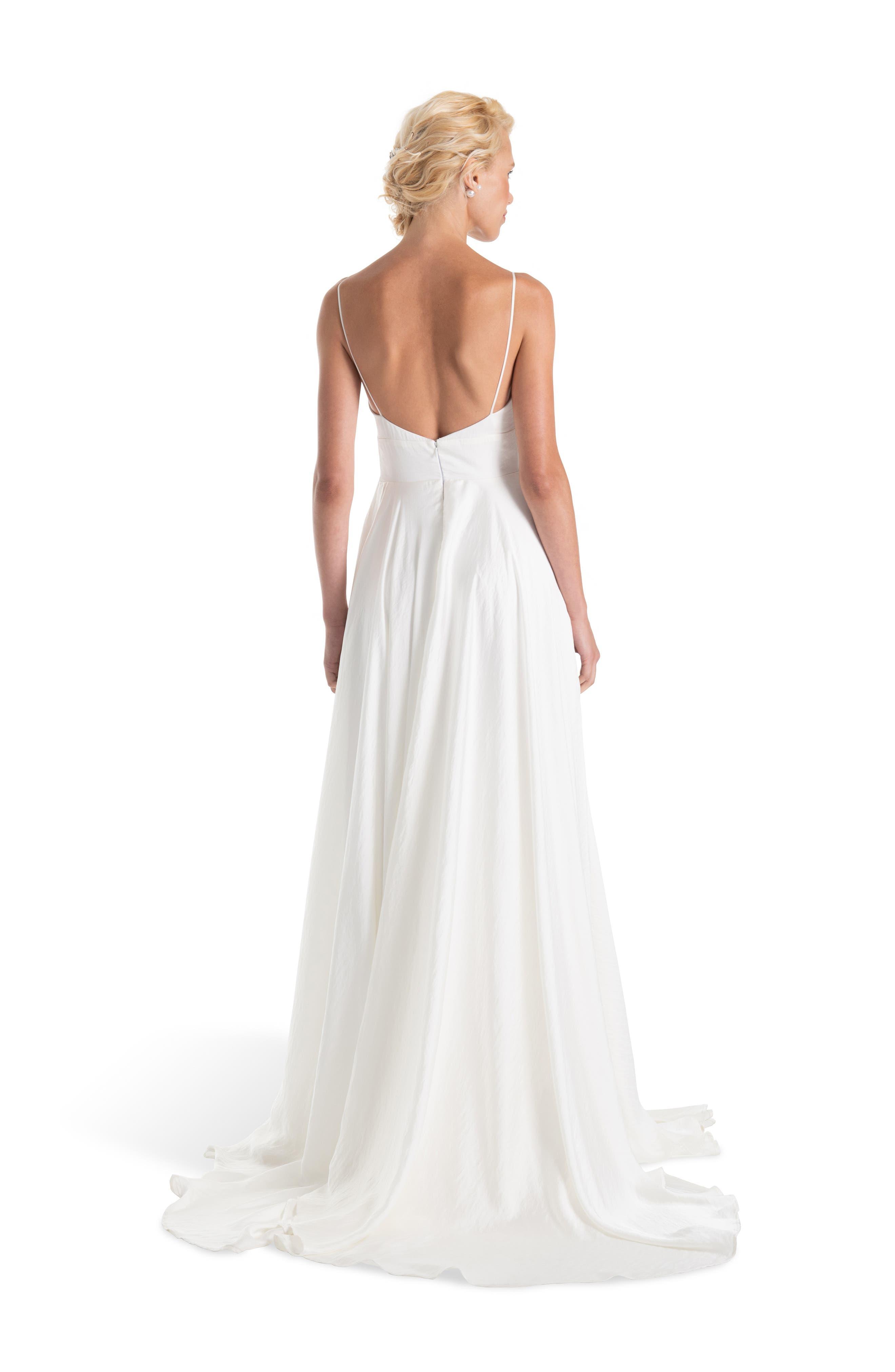JOANNA AUGUST, Nancy V-Neck Crepe Wedding Dress, Alternate thumbnail 2, color, WHITE