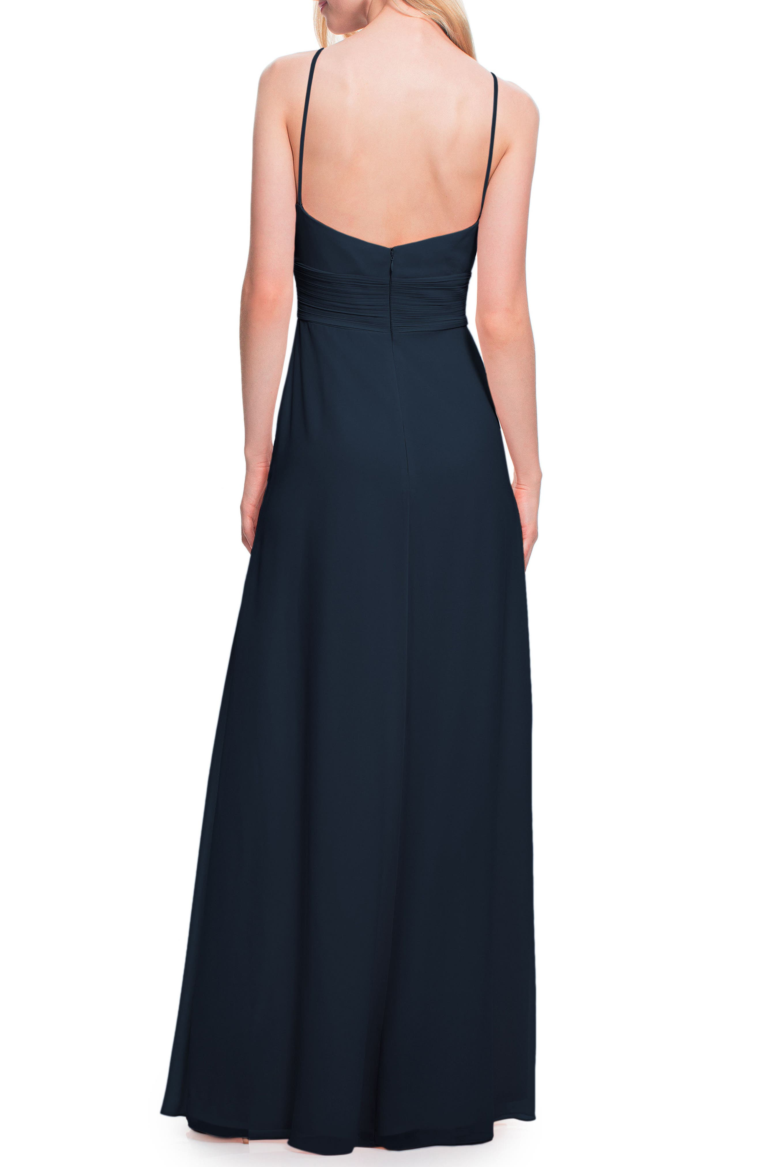 #LEVKOFF, Low Back Pleated Chiffon Gown, Alternate thumbnail 2, color, NAVY