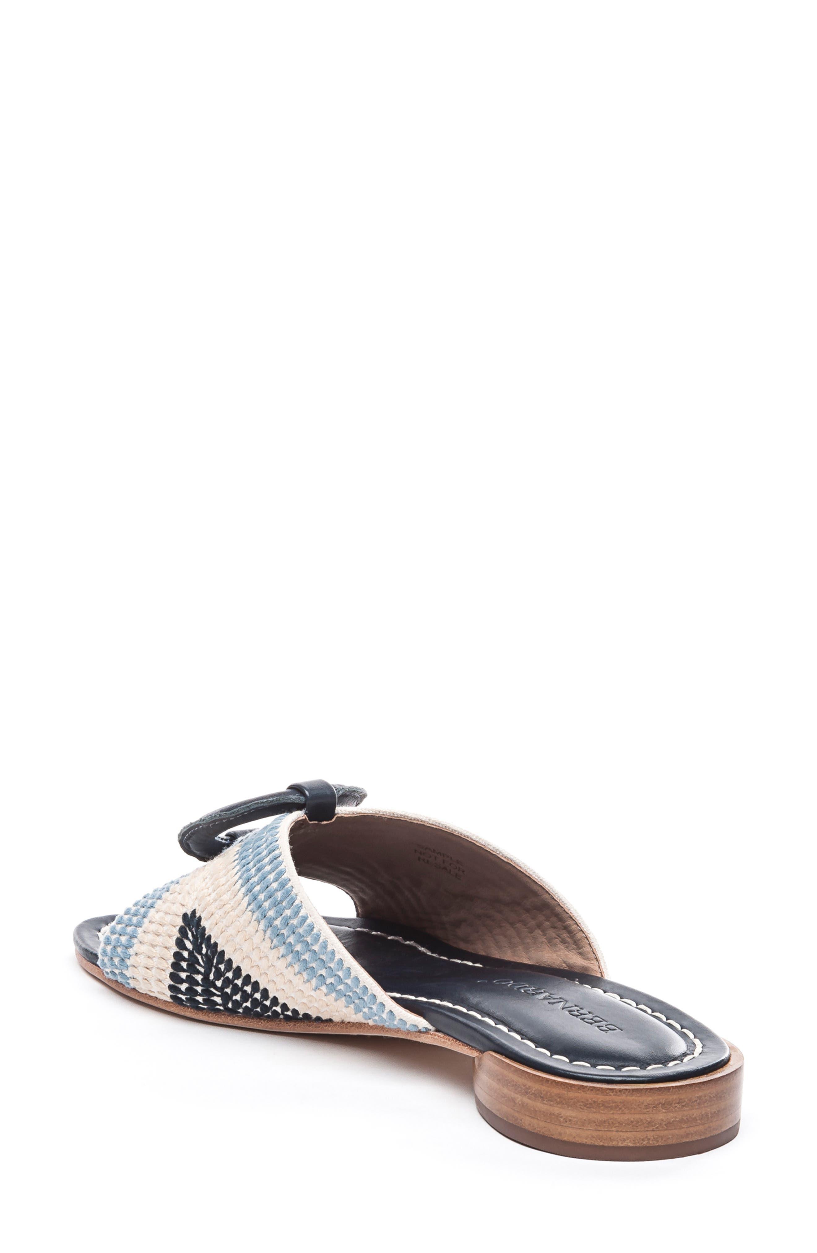 BERNARDO, Footwear Tay Slide Sandal, Alternate thumbnail 2, color, BLUE/ CREAM LEATHER