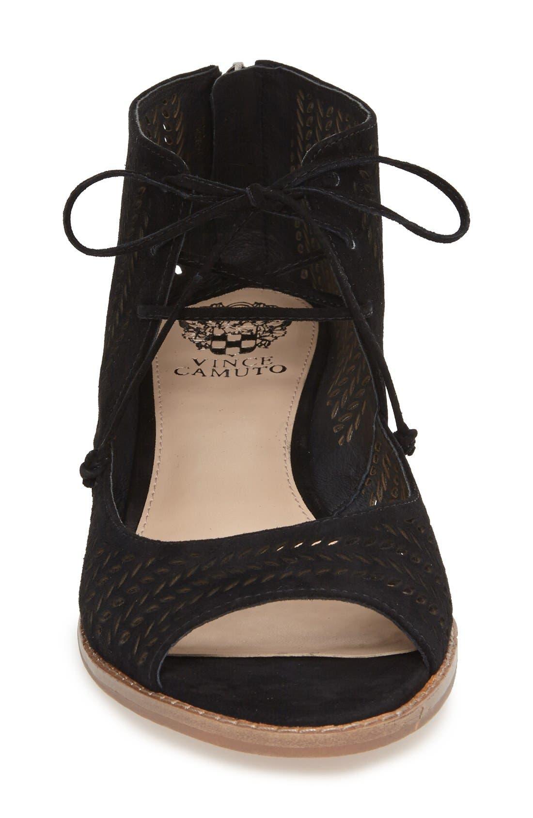 VINCE CAMUTO, 'Remme' Cutout Lace-Up Wedge Sandal, Alternate thumbnail 4, color, 001