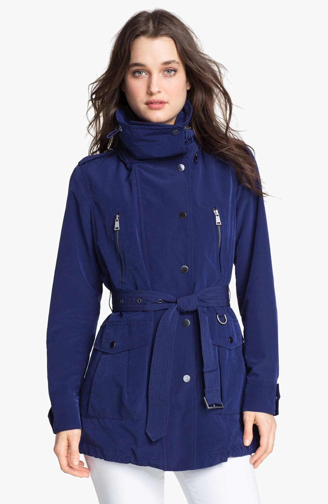 LONDON FOG, Belted Jacket with Hidden Hood, Alternate thumbnail 3, color, 400