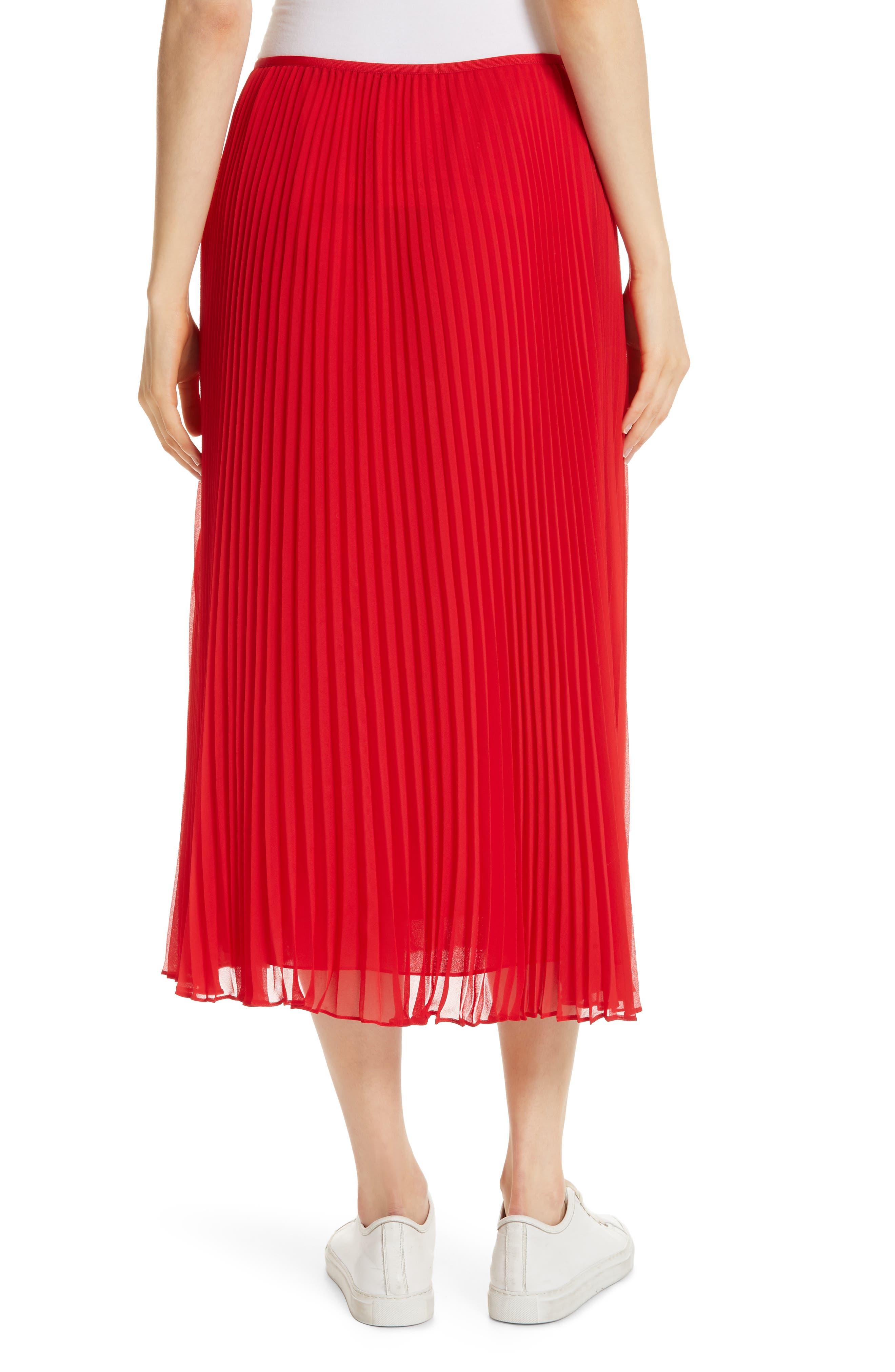 POLO RALPH LAUREN, Pleat Midi Skirt, Alternate thumbnail 2, color, PANDORA RED