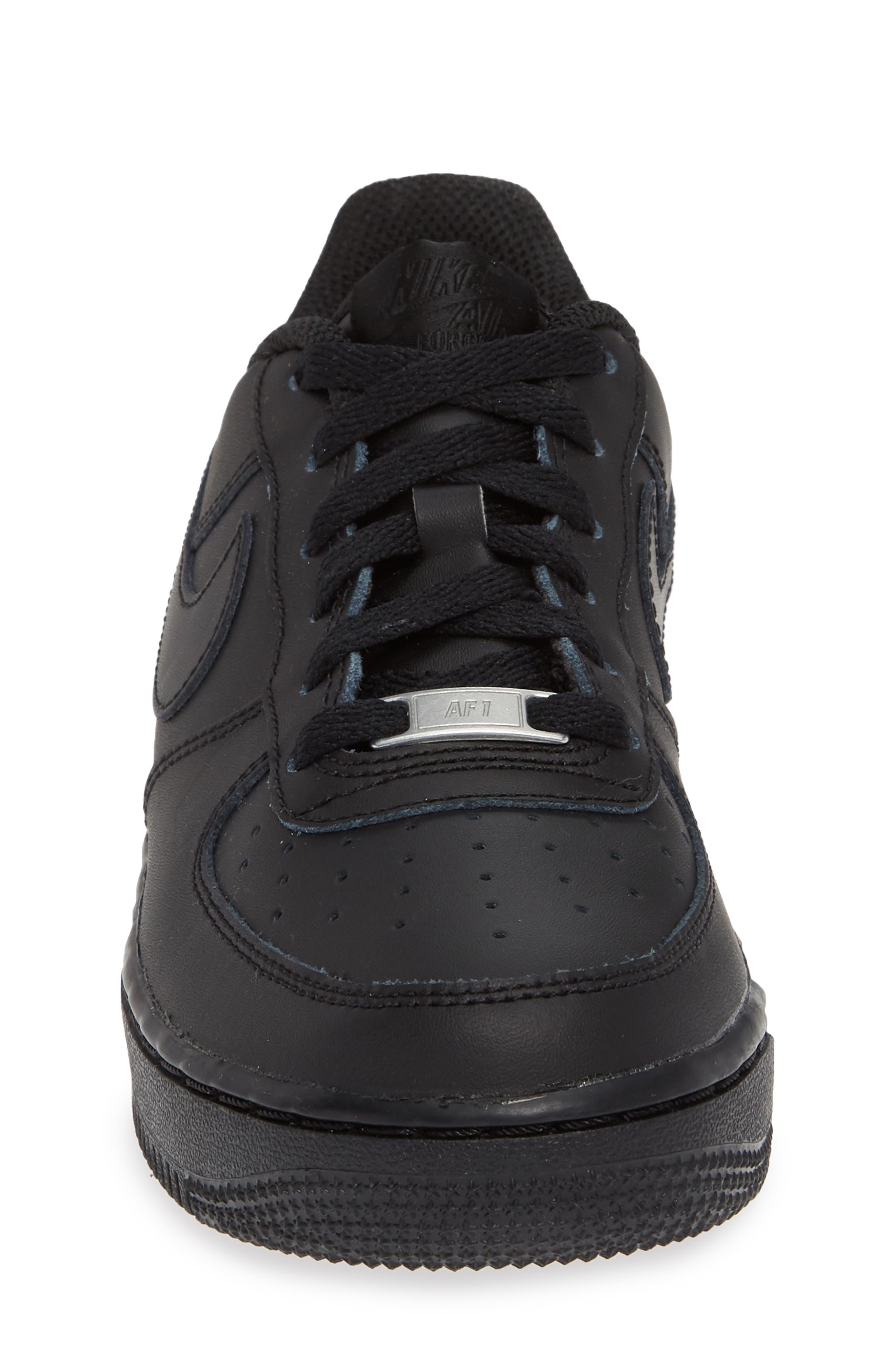 NIKE, Air Force 1 Sneaker, Alternate thumbnail 4, color, BLACK/ BLACK/ BLACK