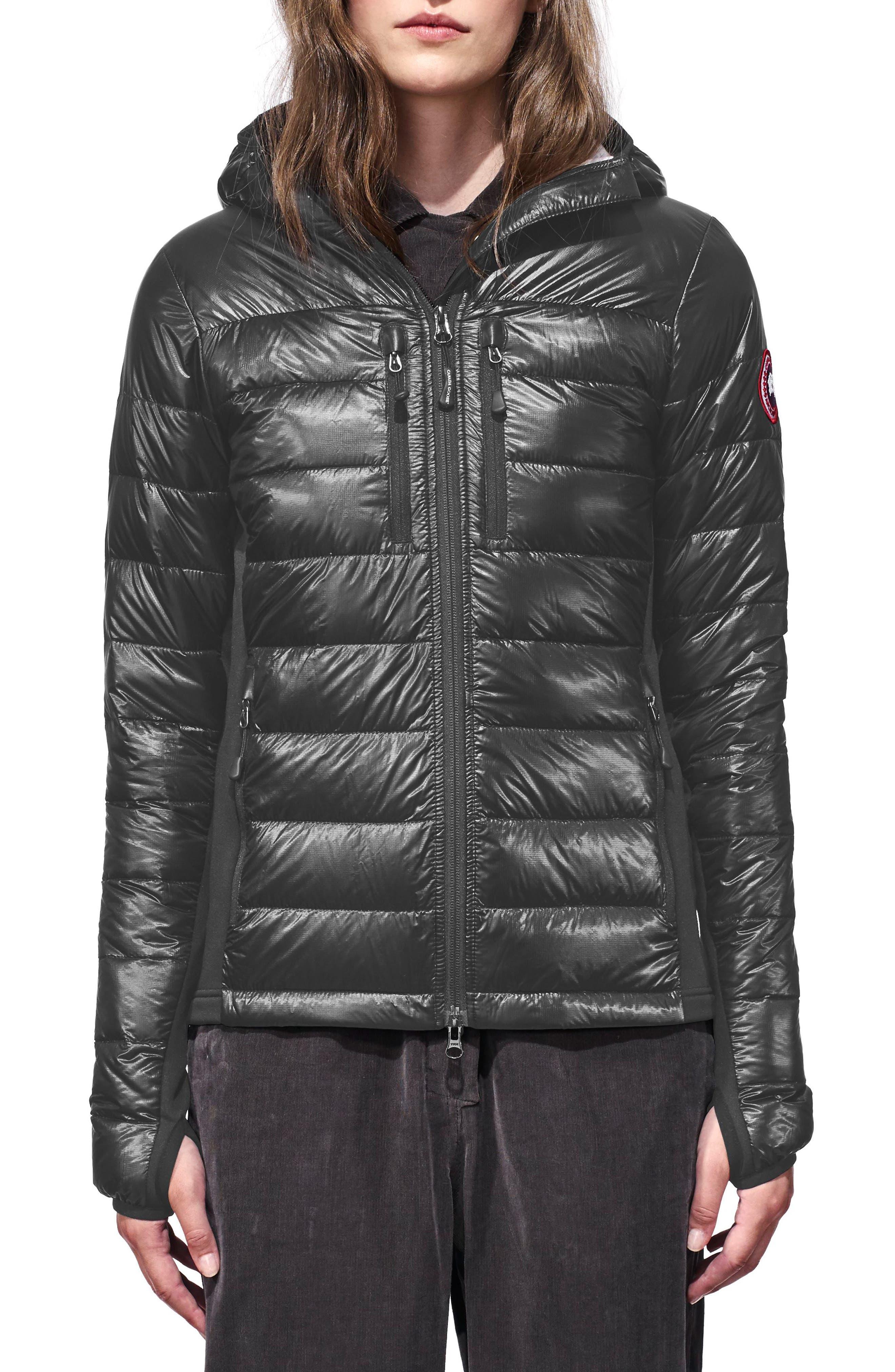 CANADA GOOSE 'Hybridge Lite' Slim Fit Hooded Packable Down Jacket, Main, color, S GRAPHITE/ L BLACK